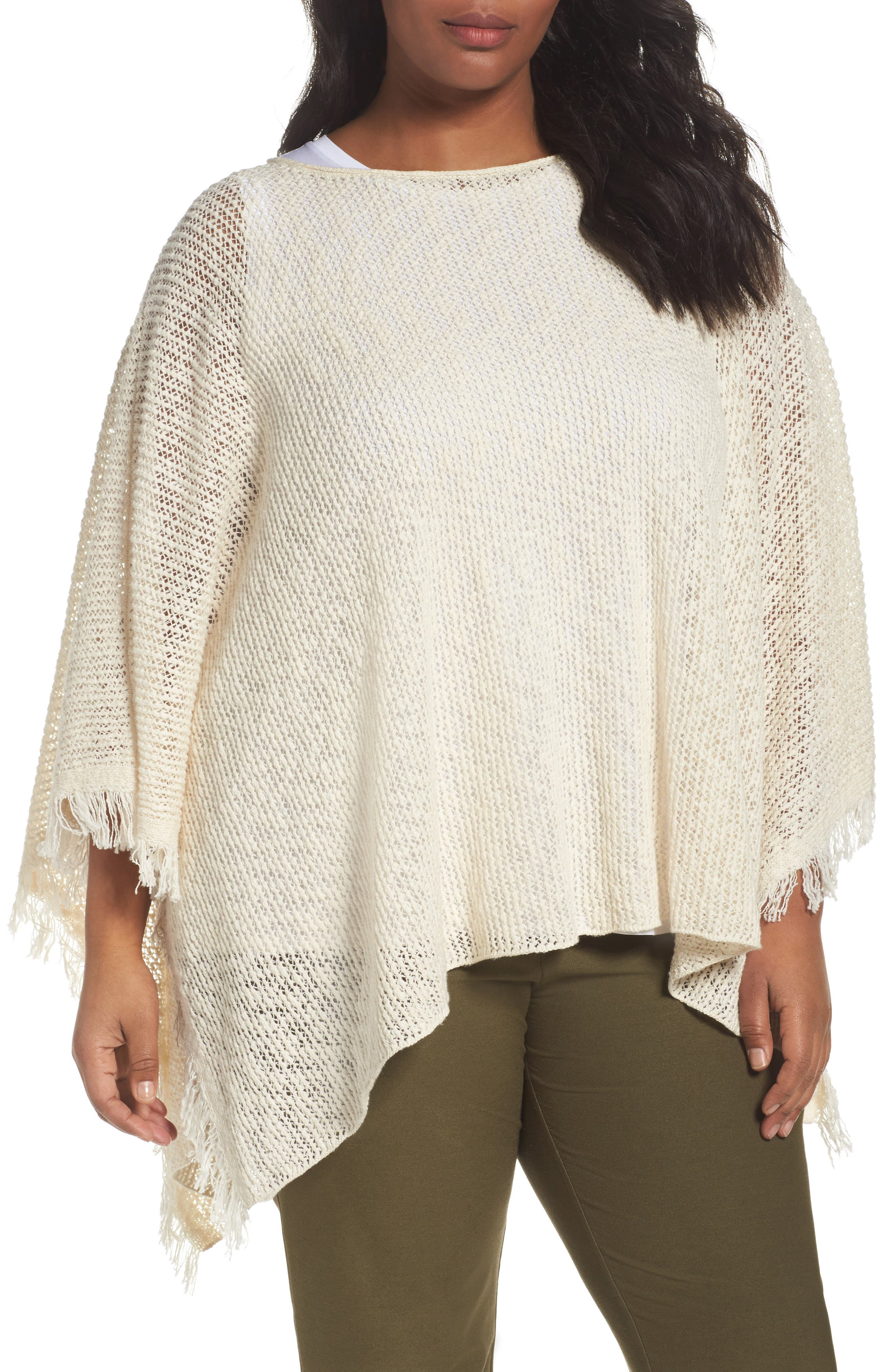 Eileen Fisher Organic Cotton Poncho (Plus Size)