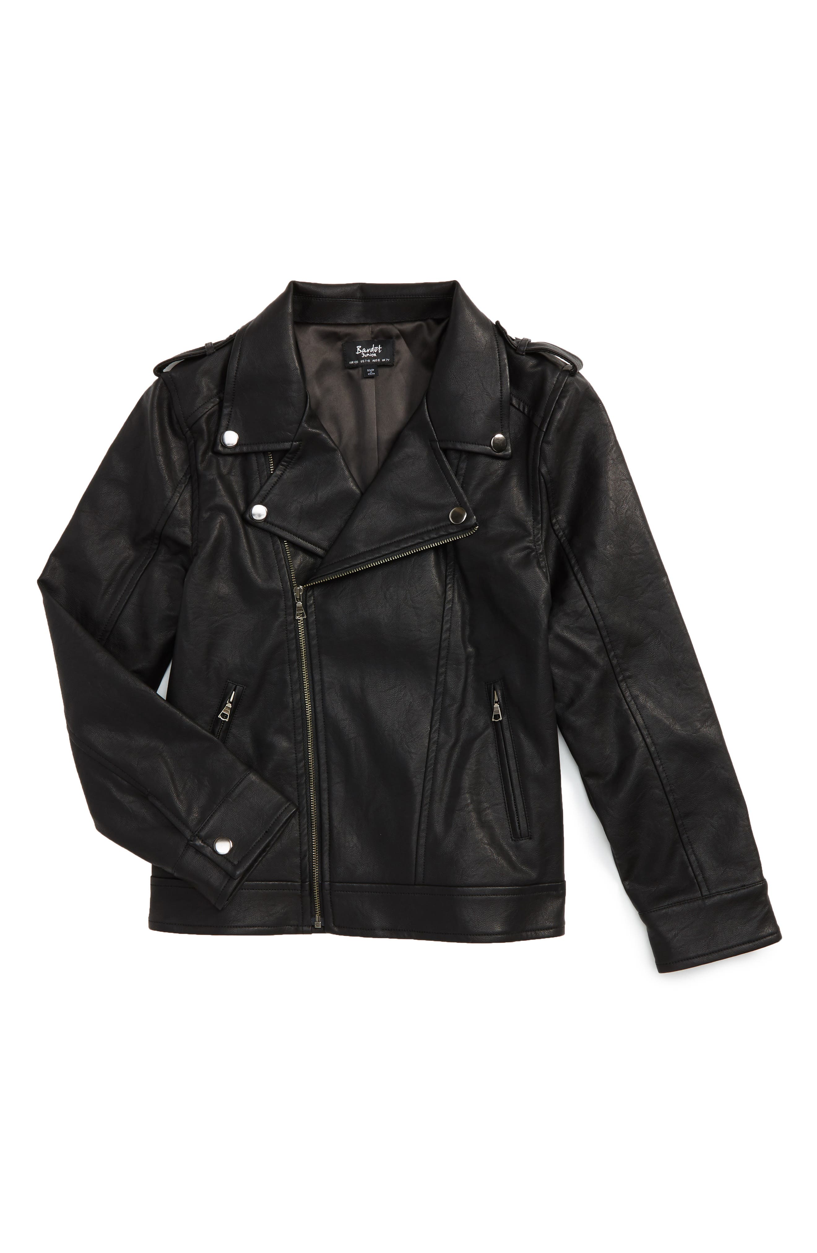 Bardot Junior Faux Leather Moto Jacket (Big Boys)