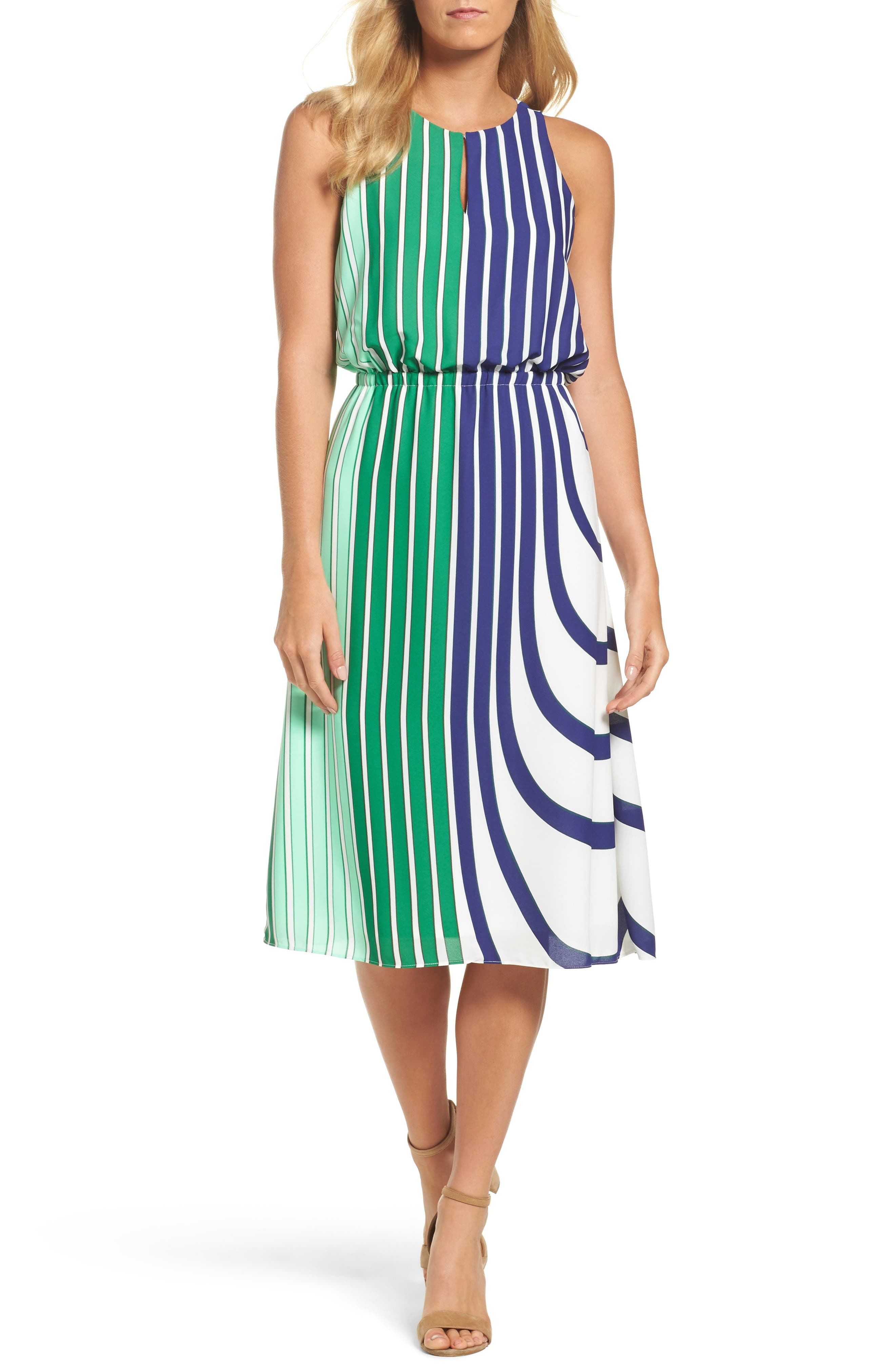 Adrianna Papell Blouson Midi Dress