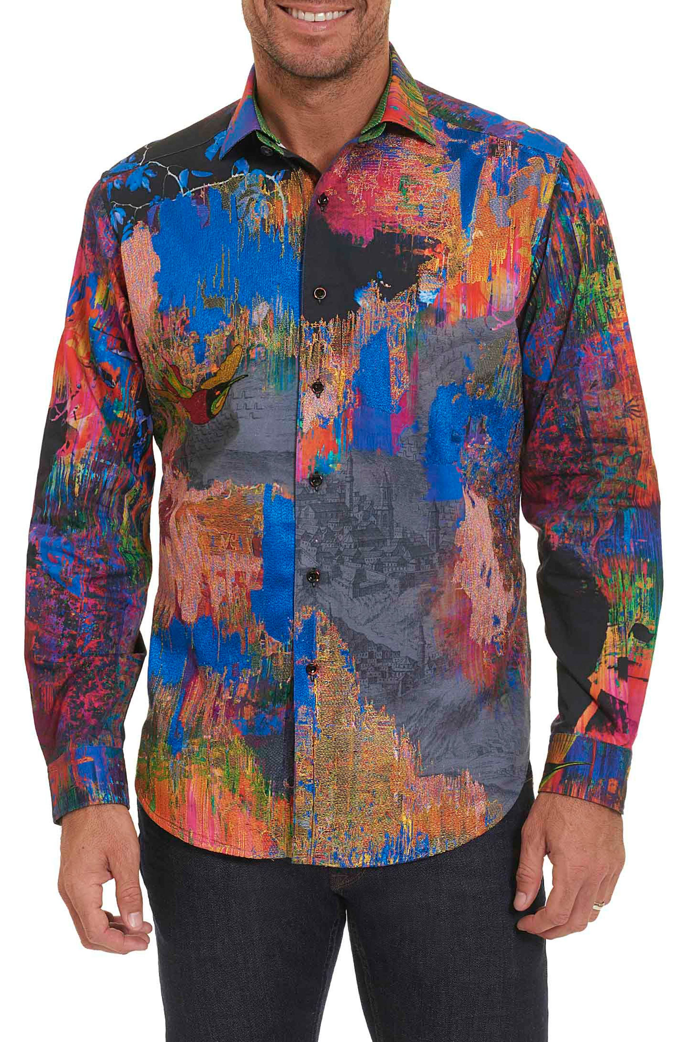 Robert Graham Zucker Print Band Collar Sport Shirt (Limited Edition)