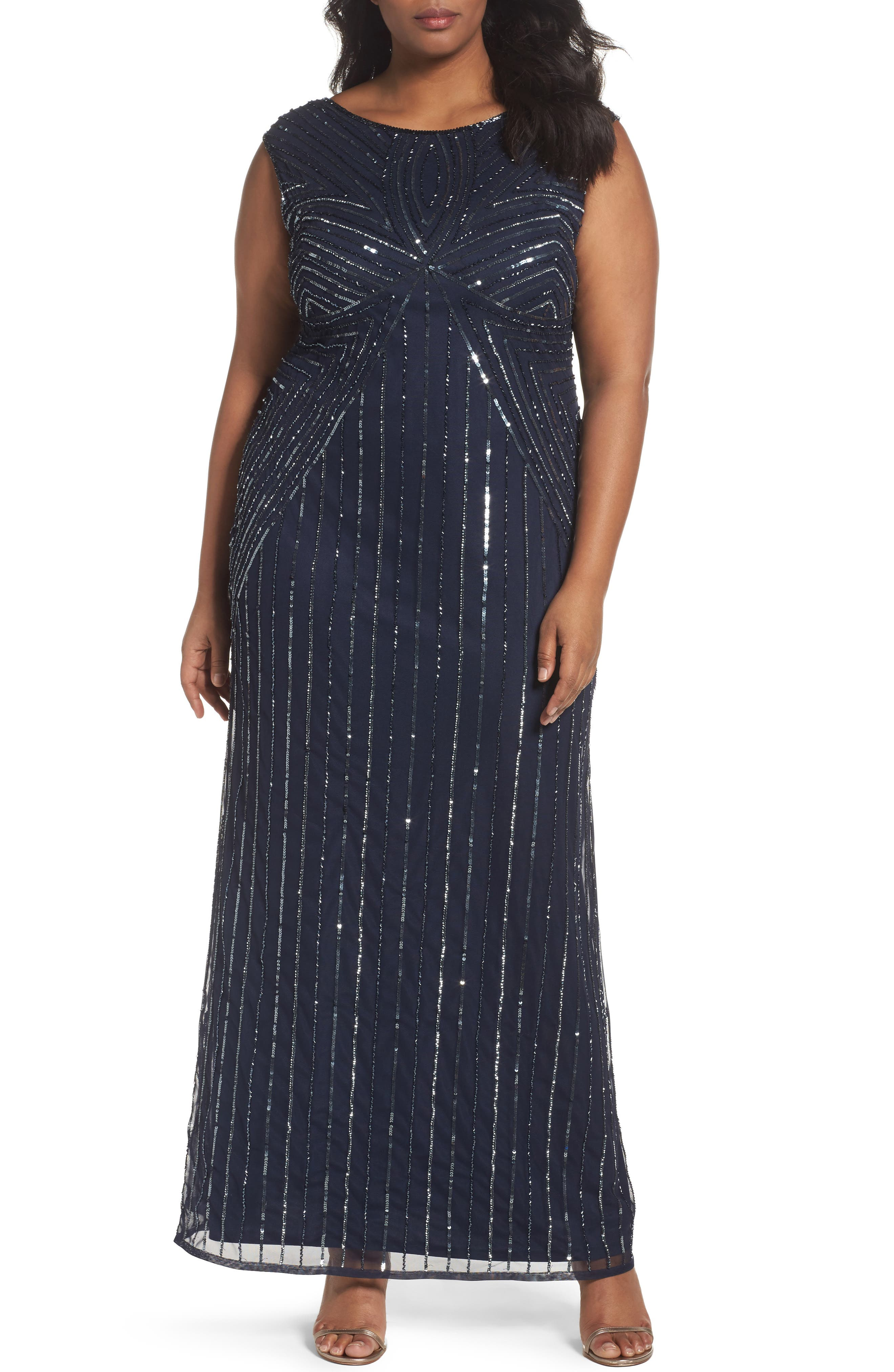 Adrianna Papell Embellished Cap Sleeve Gown (Plus Size)