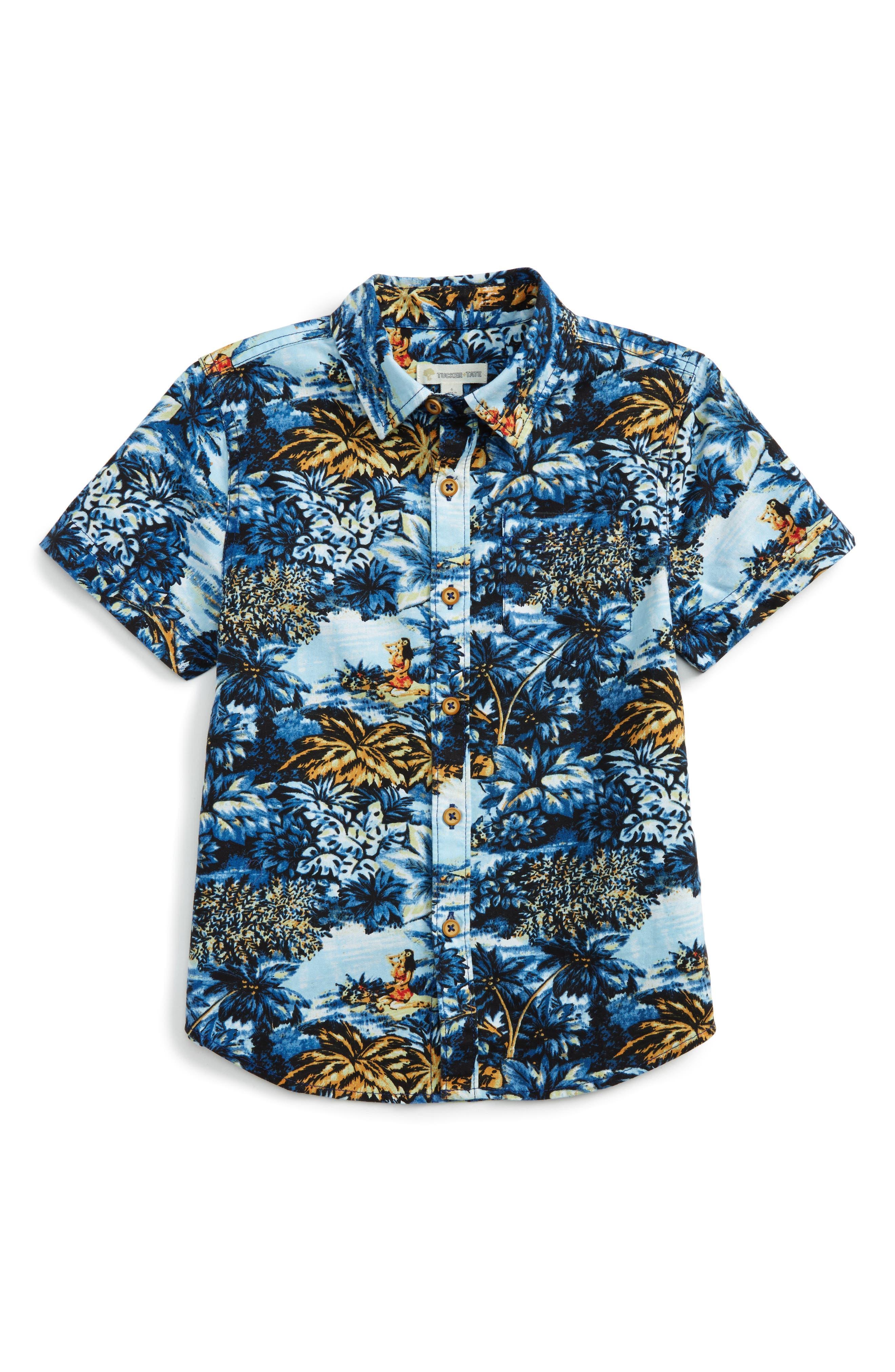 Alternate Image 1 Selected - Tucker + Tate Print Woven Shirt (Toddler Boys & Little Boys)