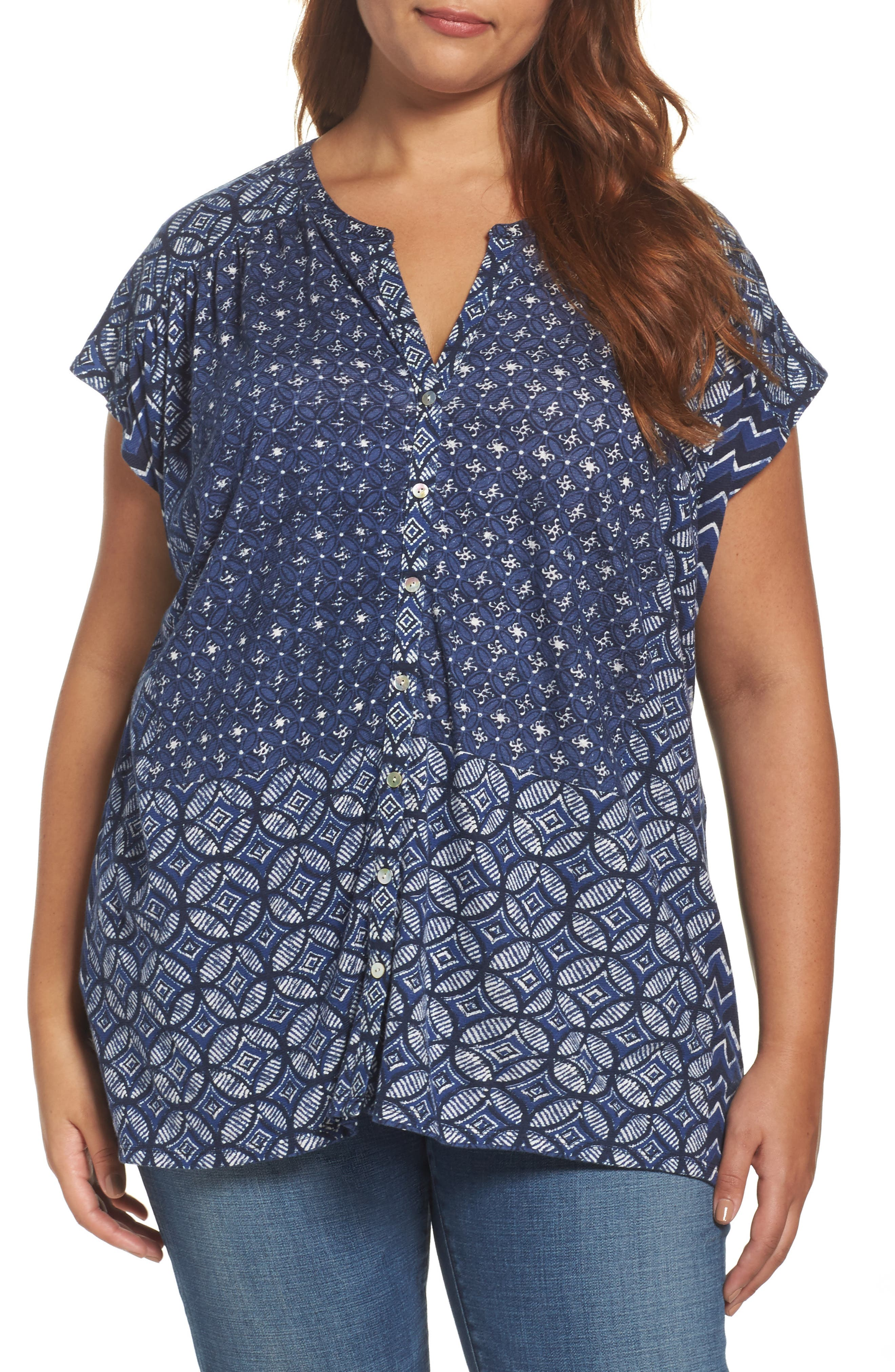 Lucky Brand Decanta Border Print Top (Plus Size)