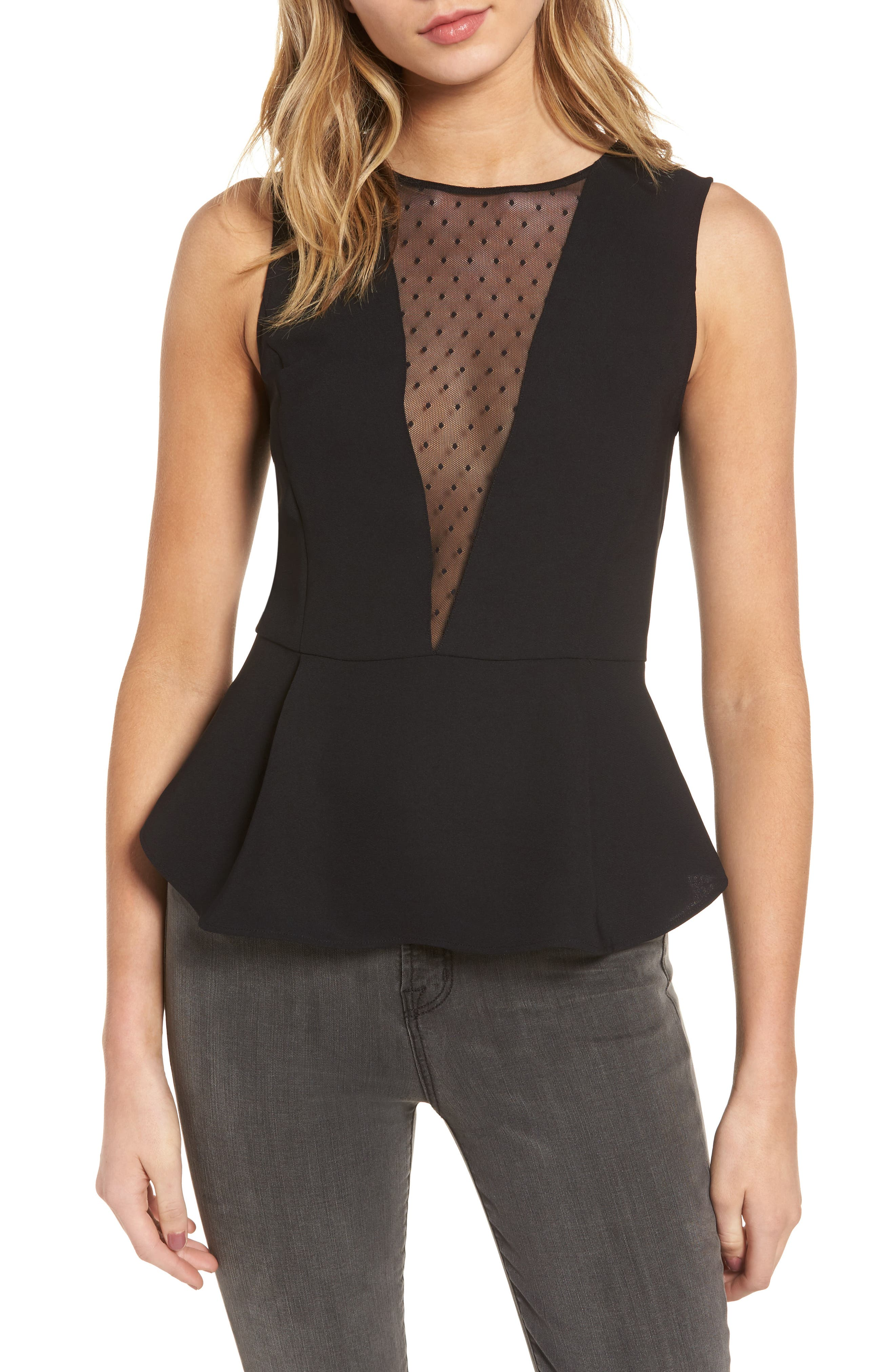 Trouvé Dot Mesh Peplum Top