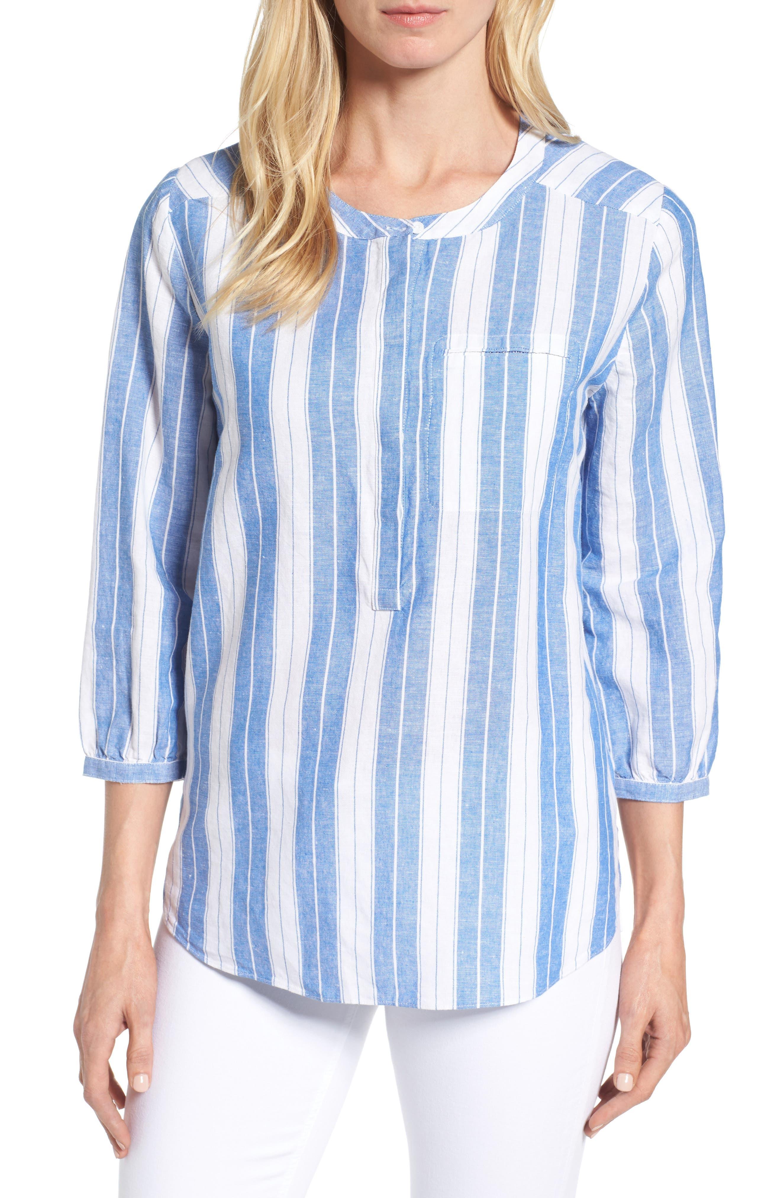 NYDJ Pleat Back Stripe Blouse