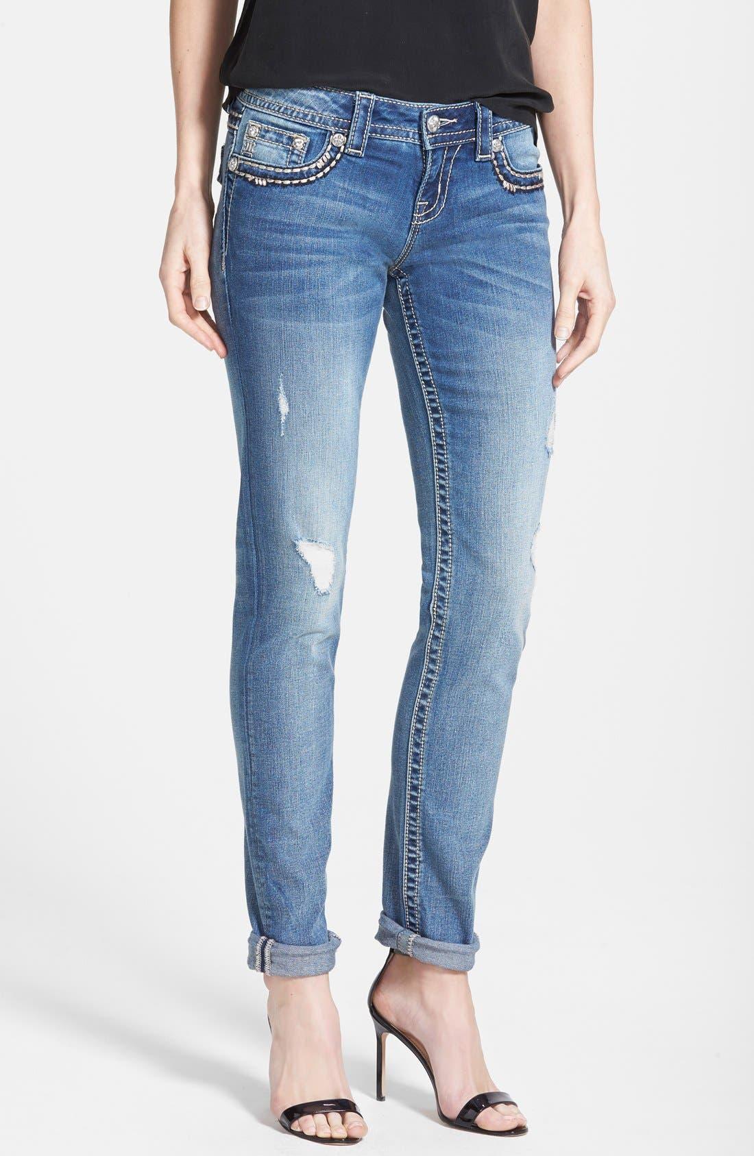 Alternate Image 1 Selected - Miss Me Flap Pocket Distressed Skinny Boyfriend Jeans (Medium Blue)