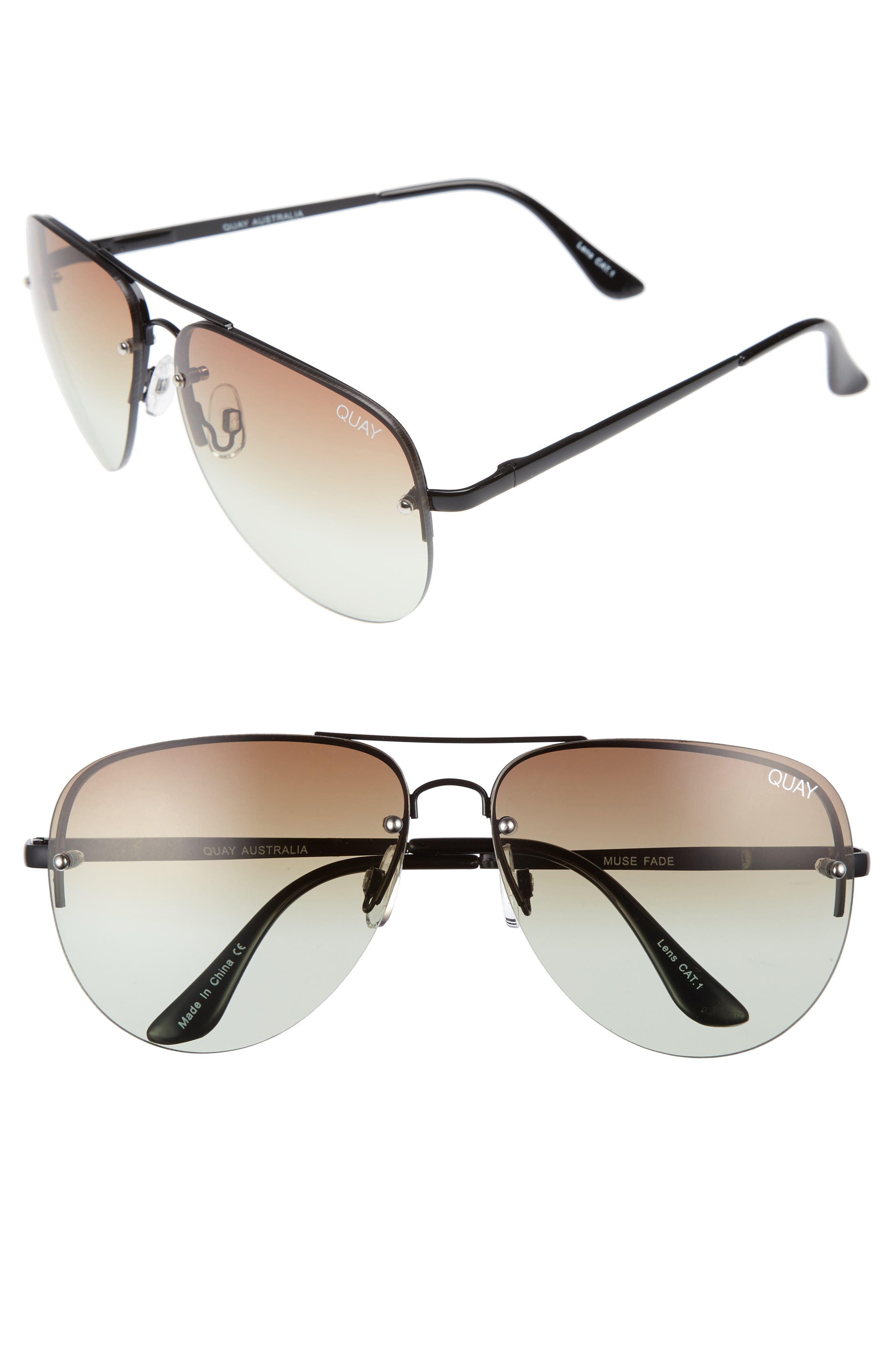 Alternate Image 1 Selected - Quay Australia Muse Fade 62mm Aviator Sunglasses