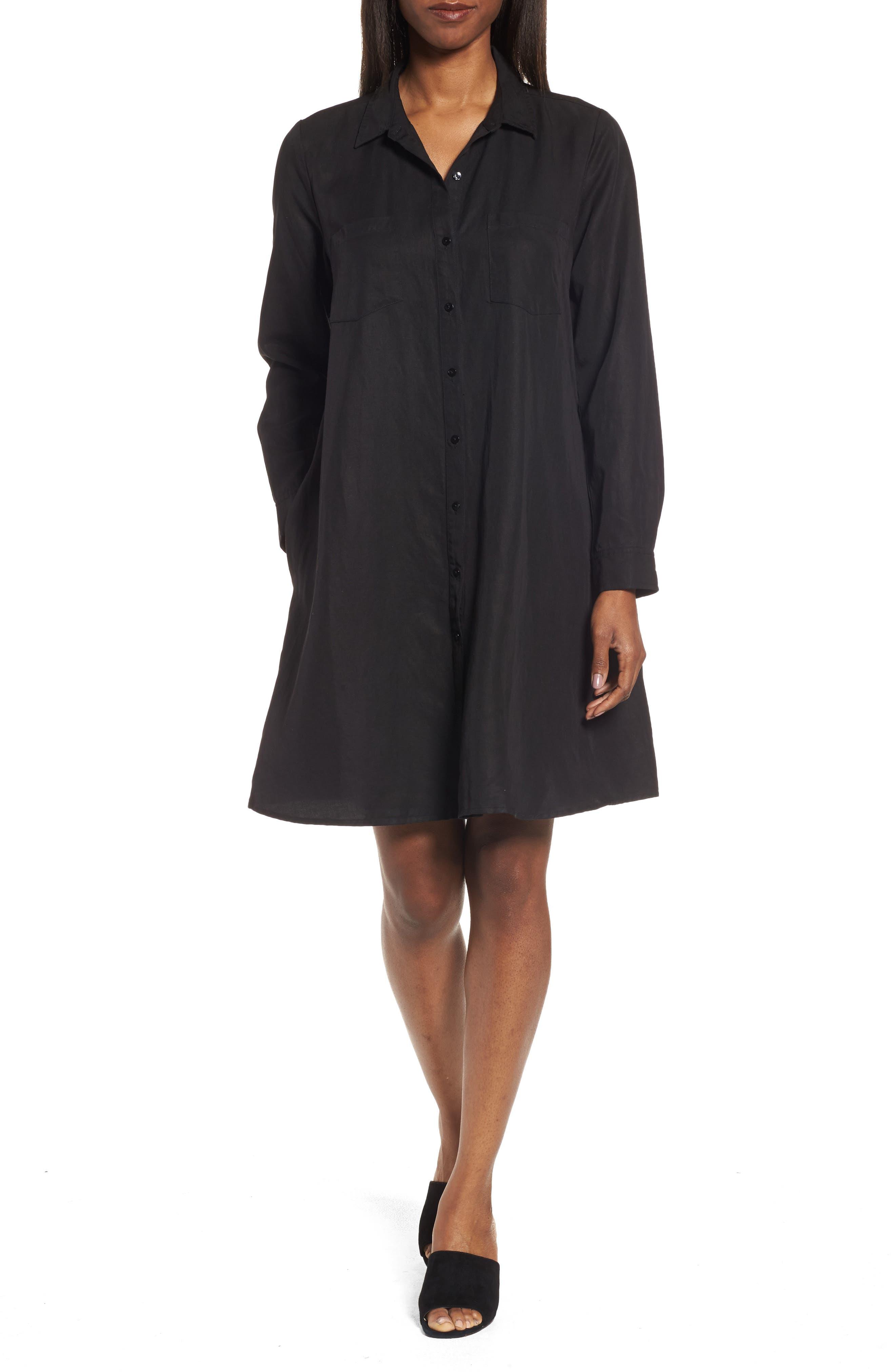 Eileen Fisher Classic Collar A-Line Shirtdress (Regular & Petite)