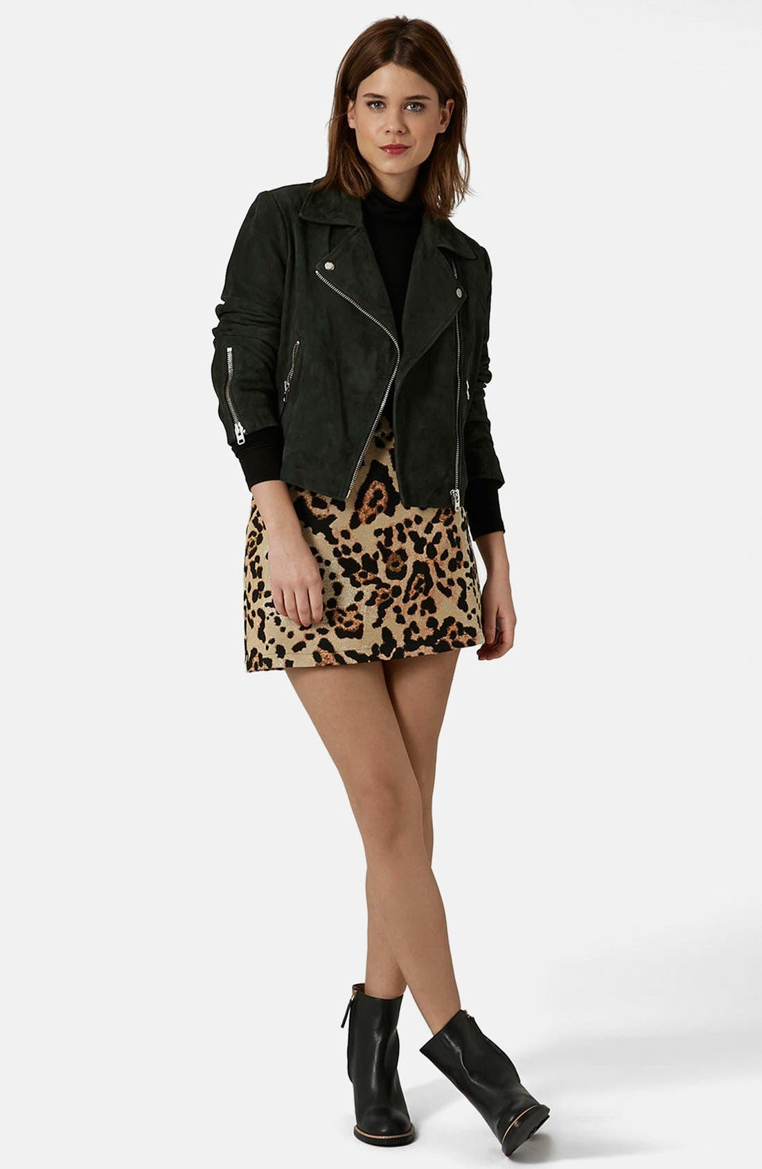Alternate Image 5  - Topshop Animal Jacquard A-Line Skirt