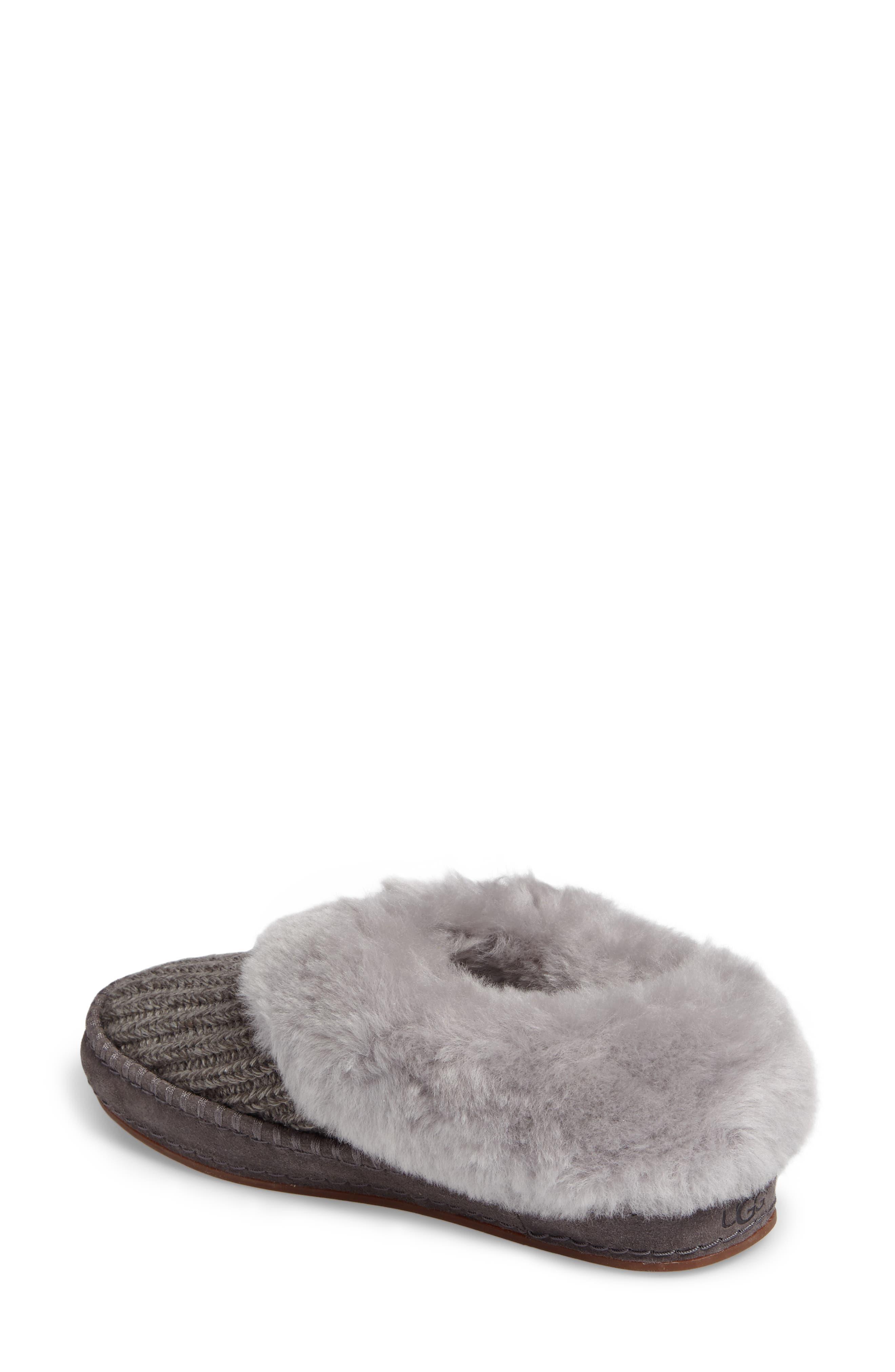 Alternate Image 2  - UGG® Wrin Rib-Knit & Genuine Shearling Slipper (Women)