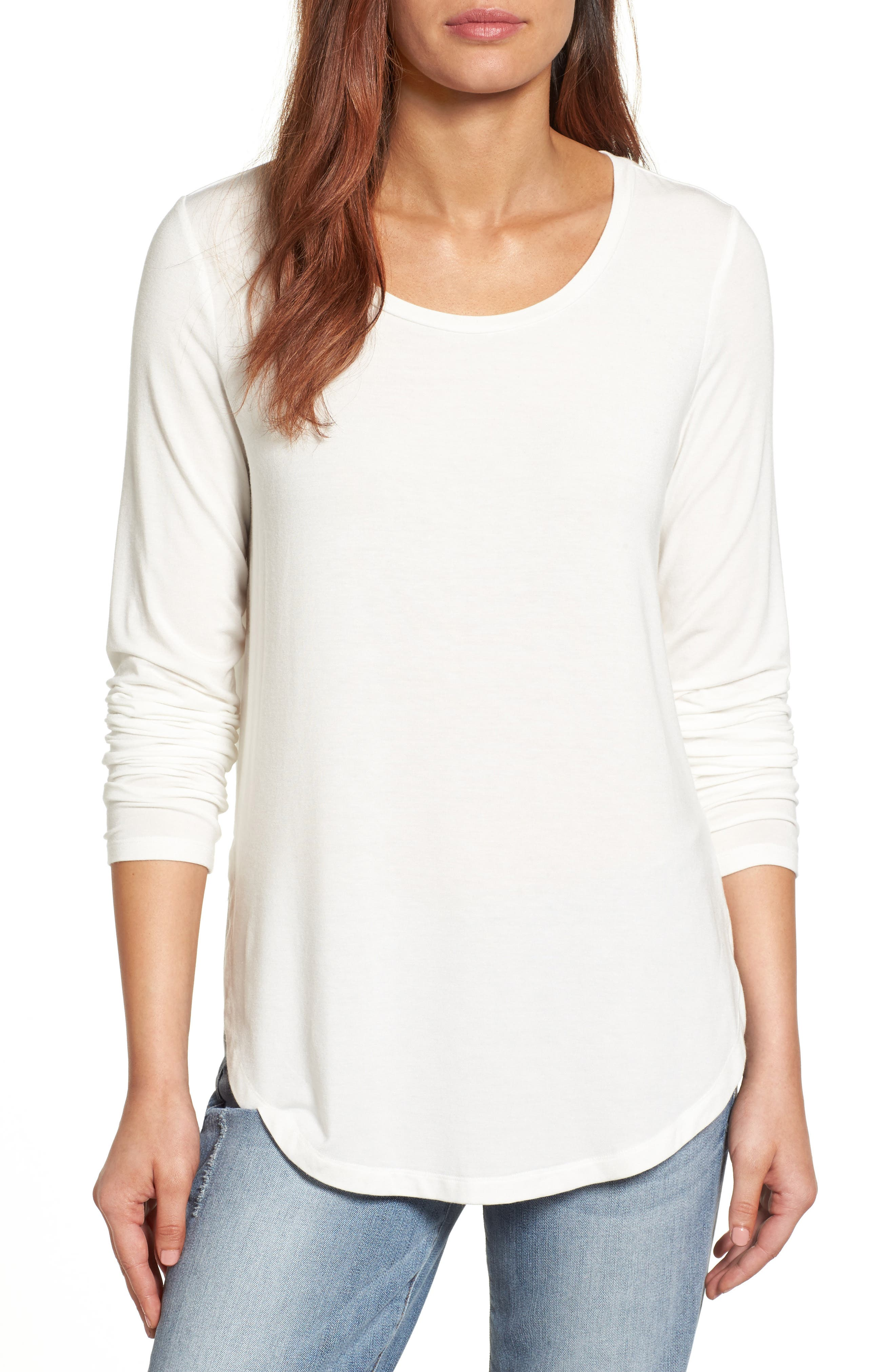 Halogen® Long Sleeve Knit Tunic (Regular & Petite)
