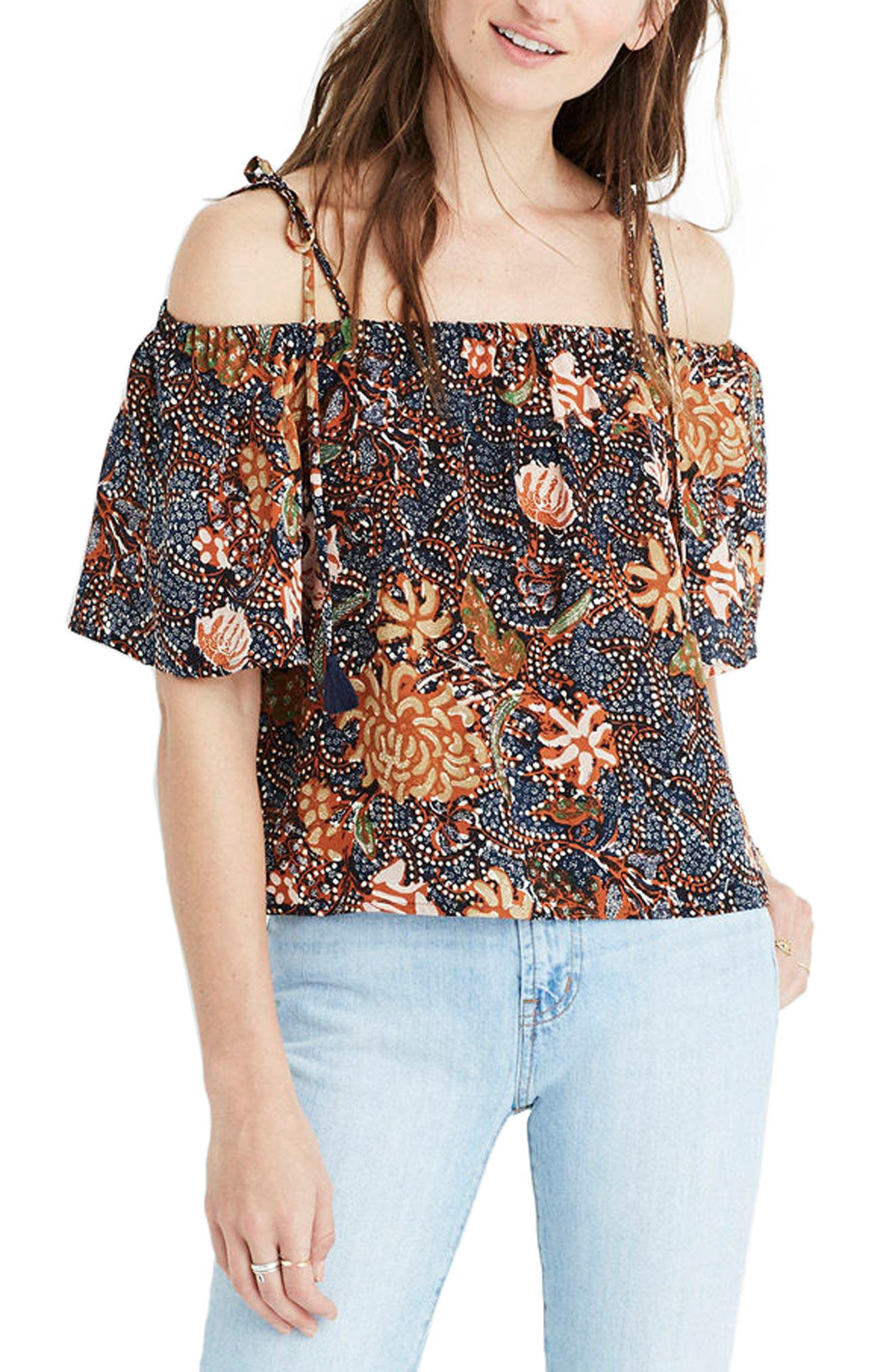 Madewell Off the Shoulder Silk Tank
