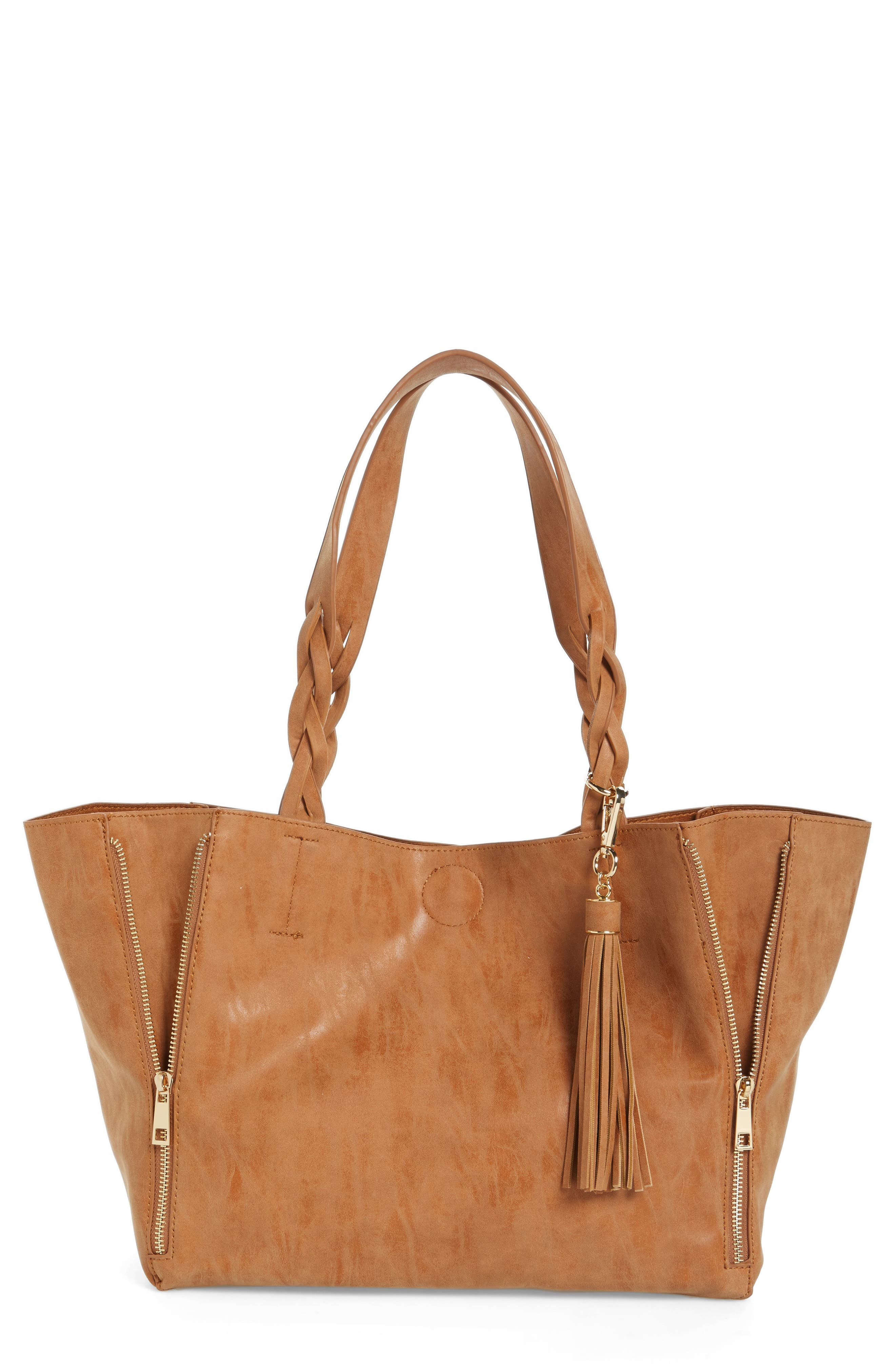 BP. Faux Leather Braided Handle Tote