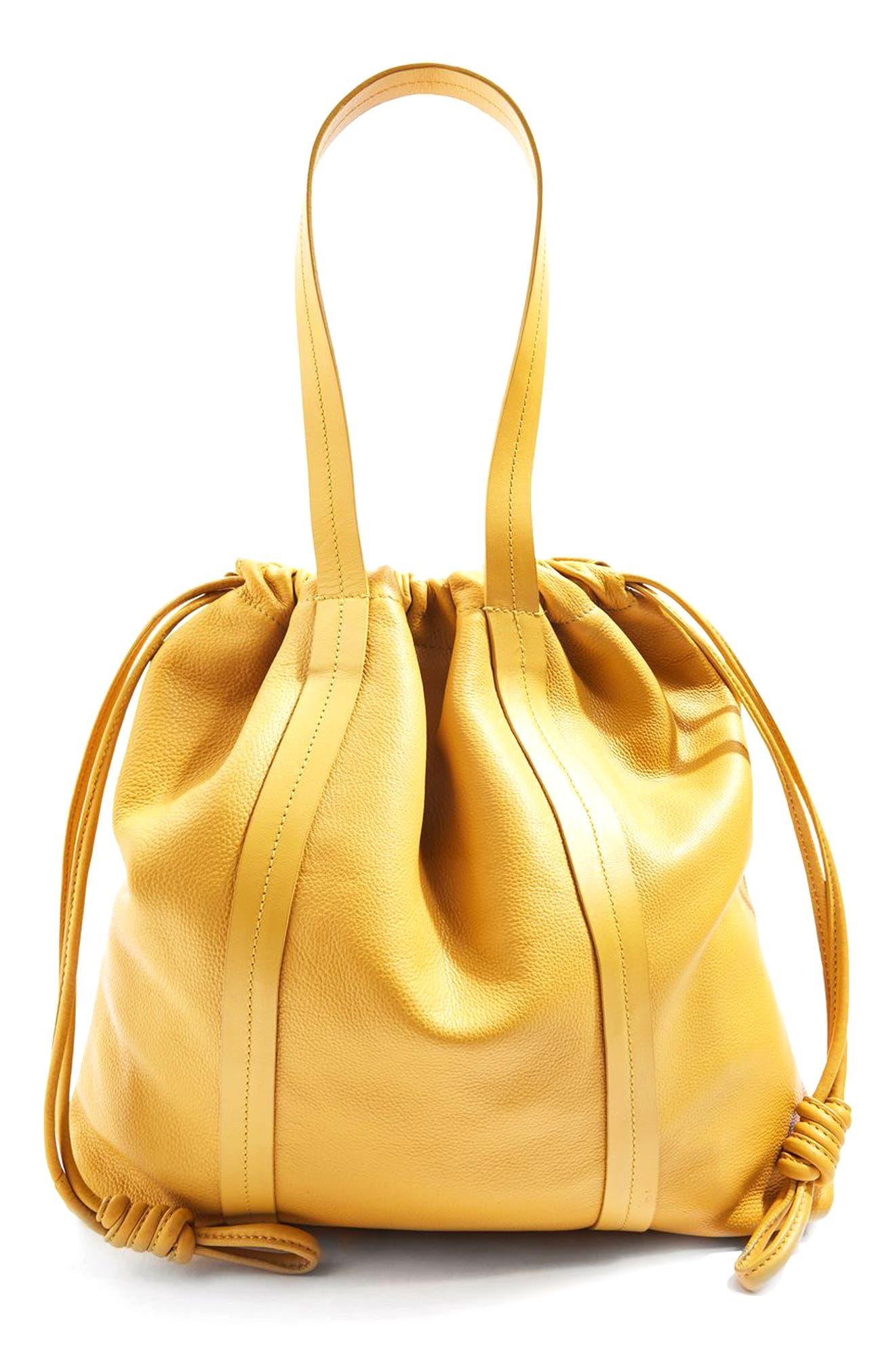 Topshop Leather Drawstring Shoulder Bag