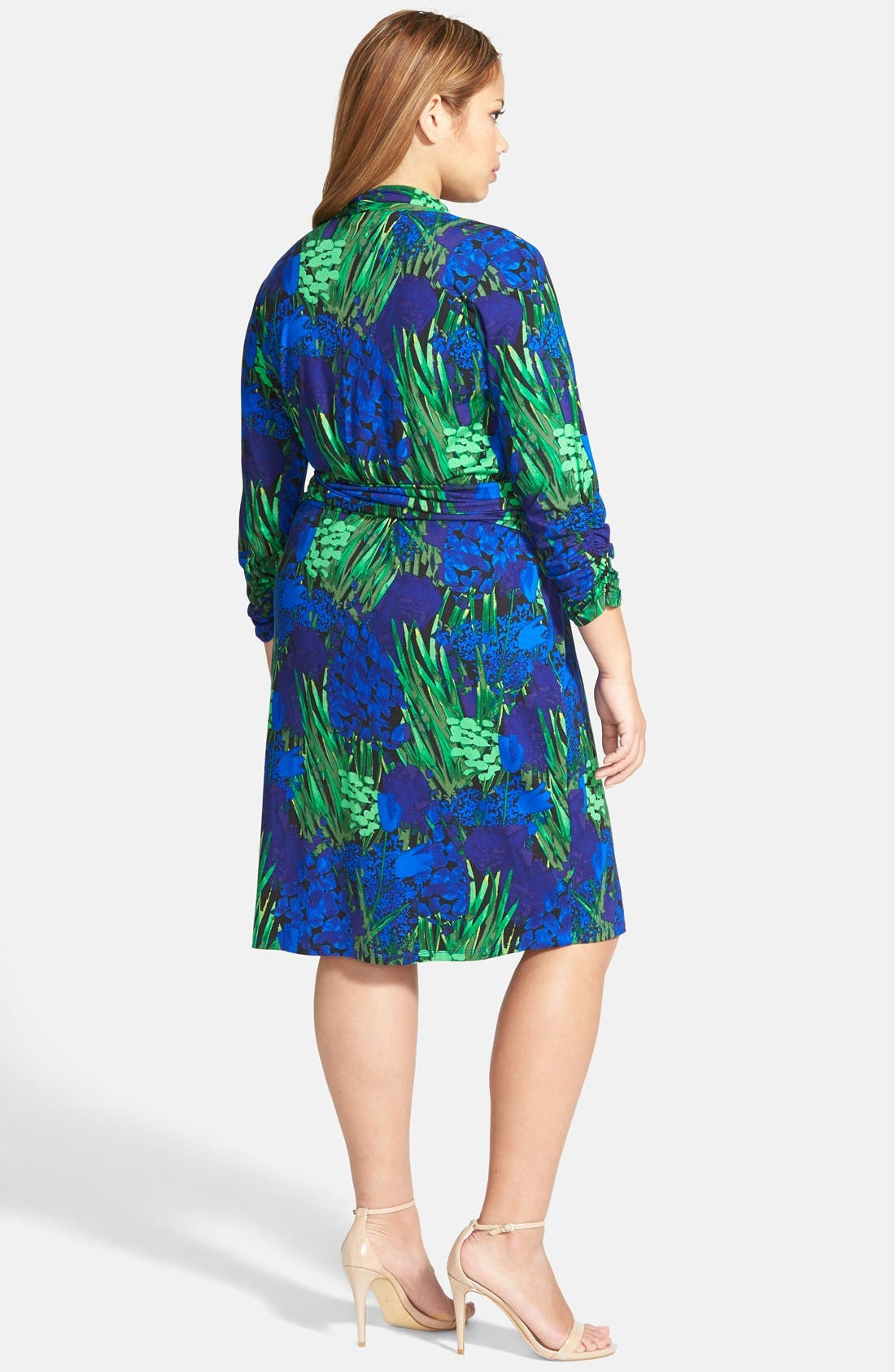 Alternate Image 2  - Adrianna Papell Print Ruched Sleeve Faux Wrap Dress (Plus Size)