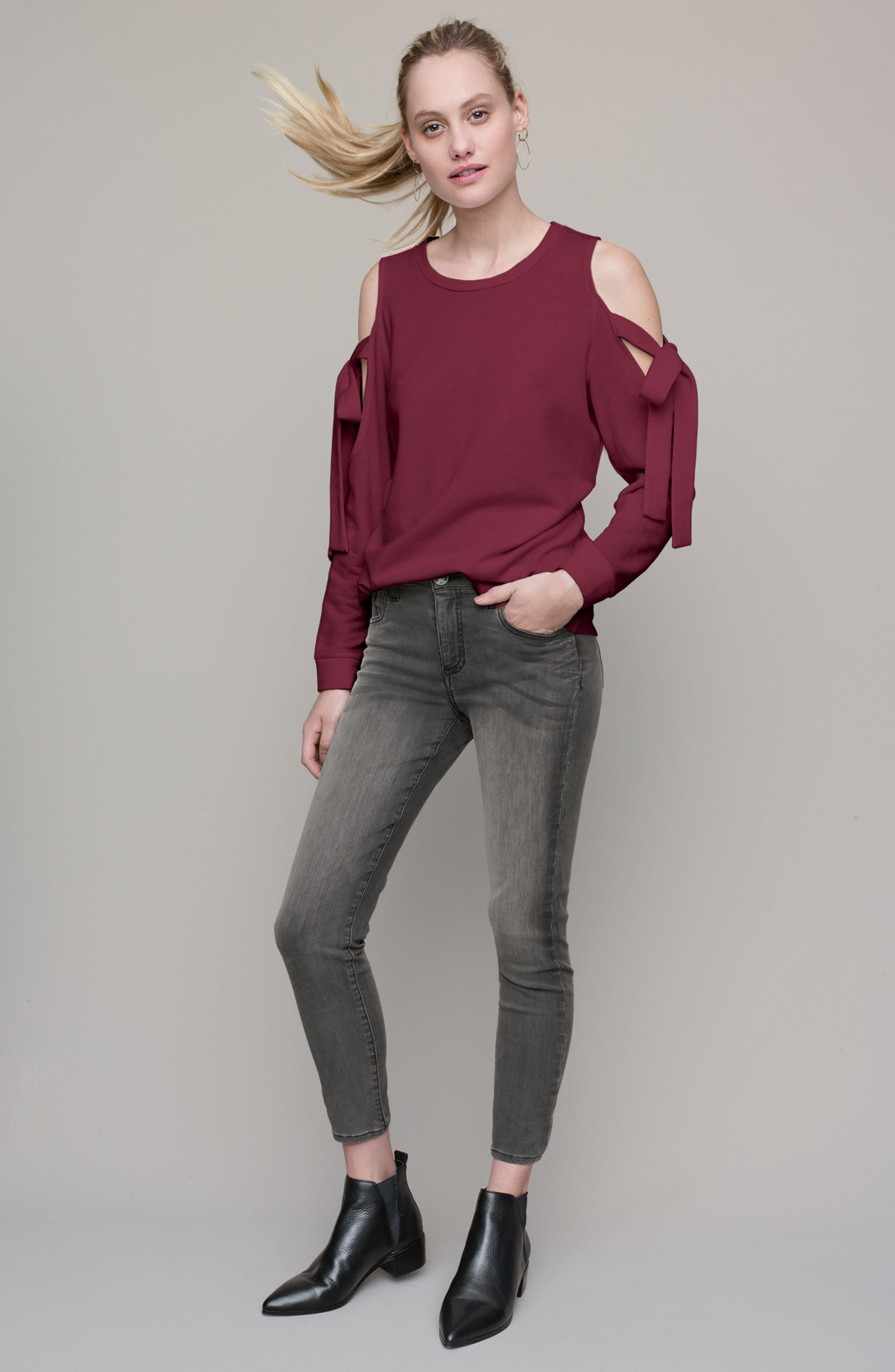 Pleione Sweatshirt & KUT from the Kloth Jeans Outfit with Accessories