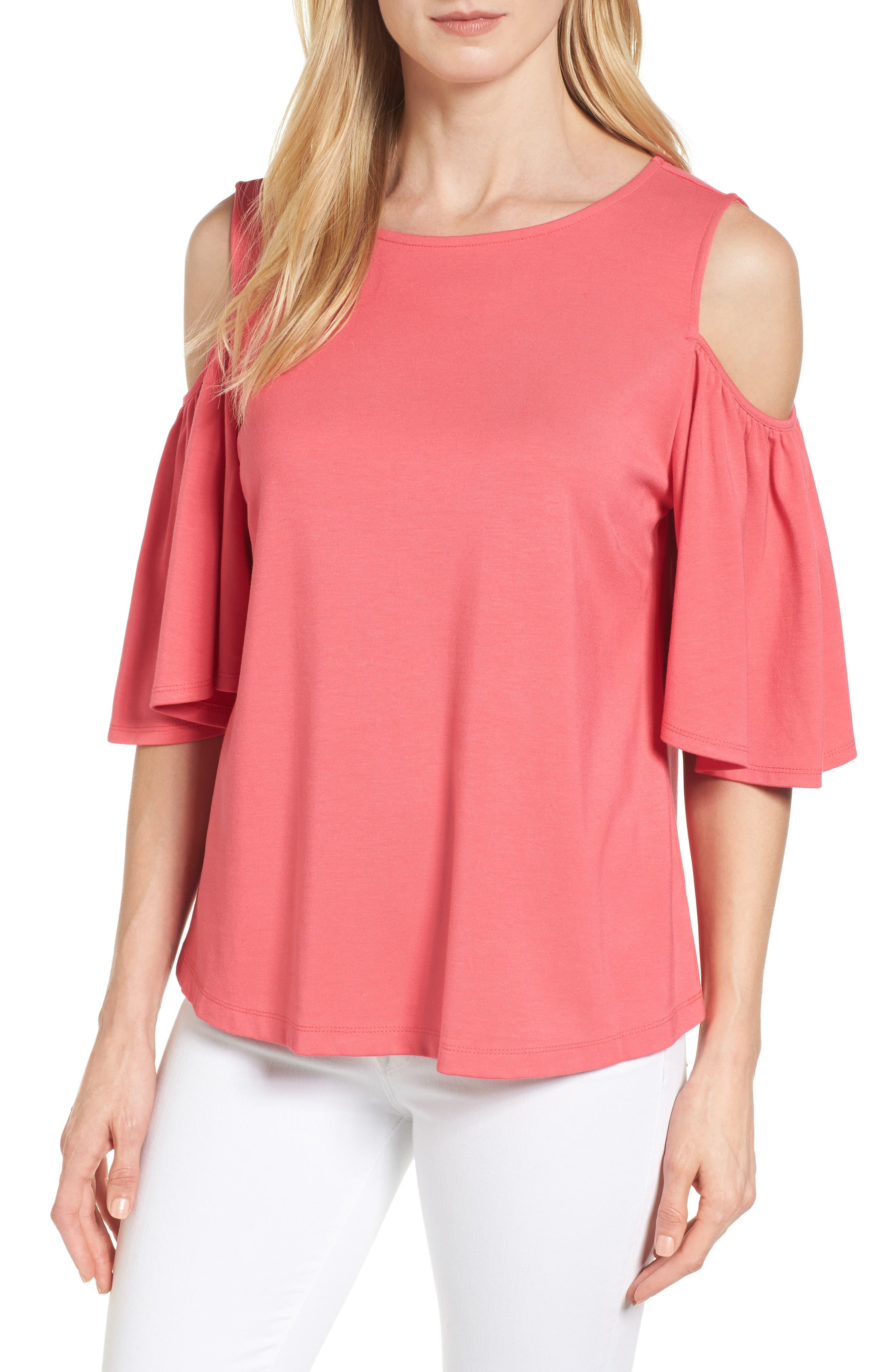 Main Image - Halogen® Knit Cold Shoulder Top (Regular & Petite)