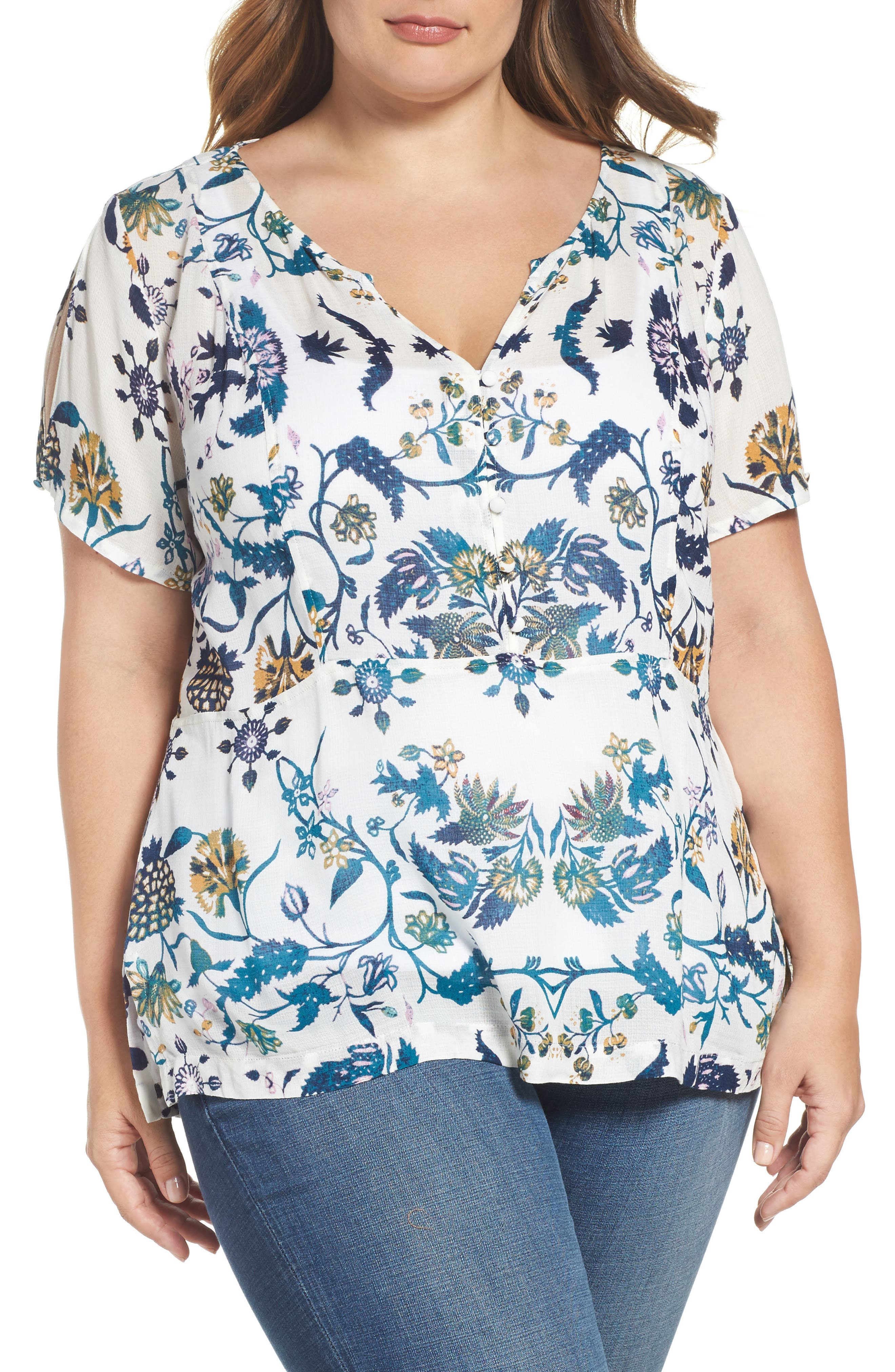 Lucky Brand Cold Shoulder Floral Top (Plus Size)