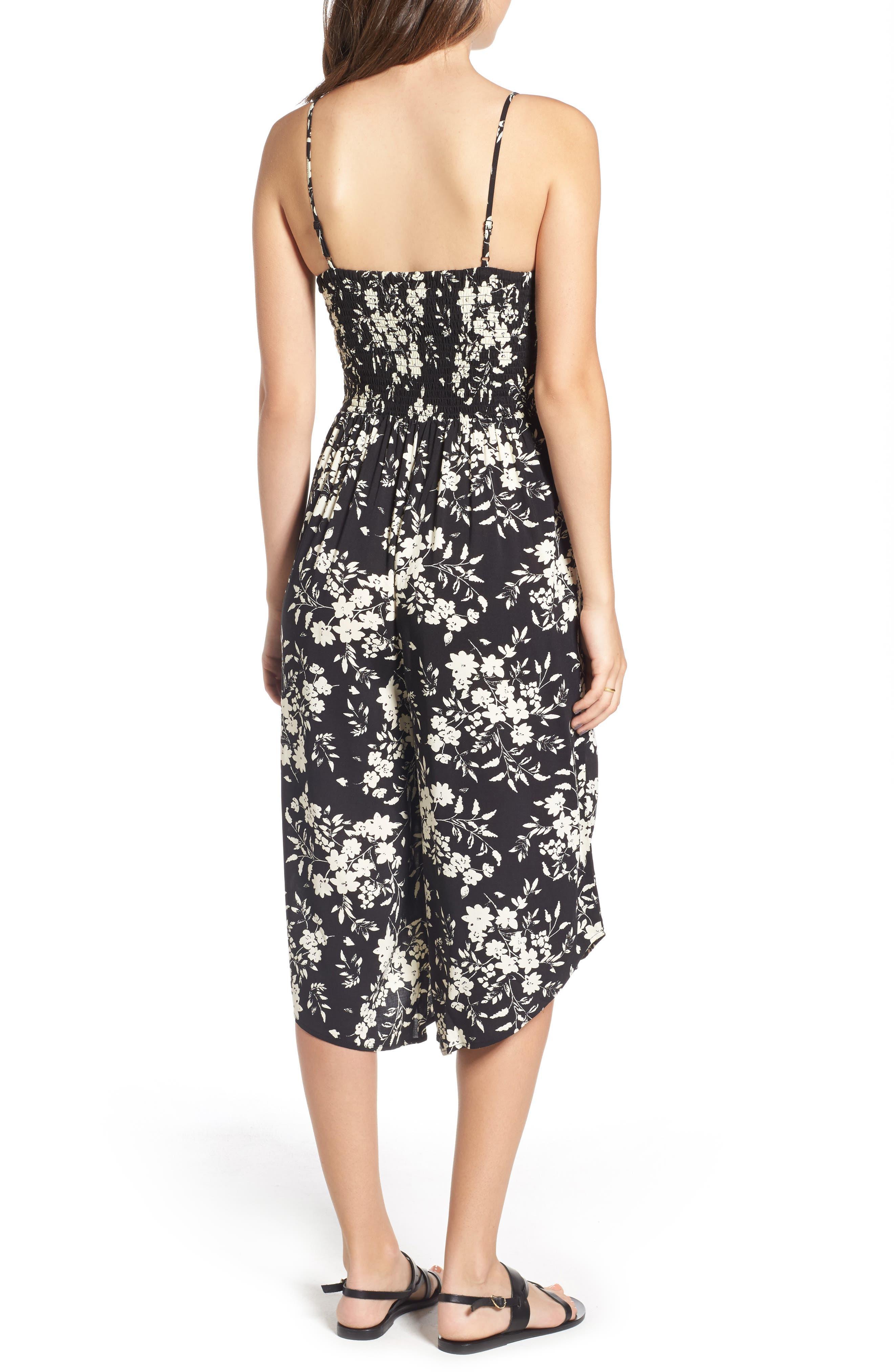Alternate Image 2  - Mimi Chica Smocked Floral Jumpsuit