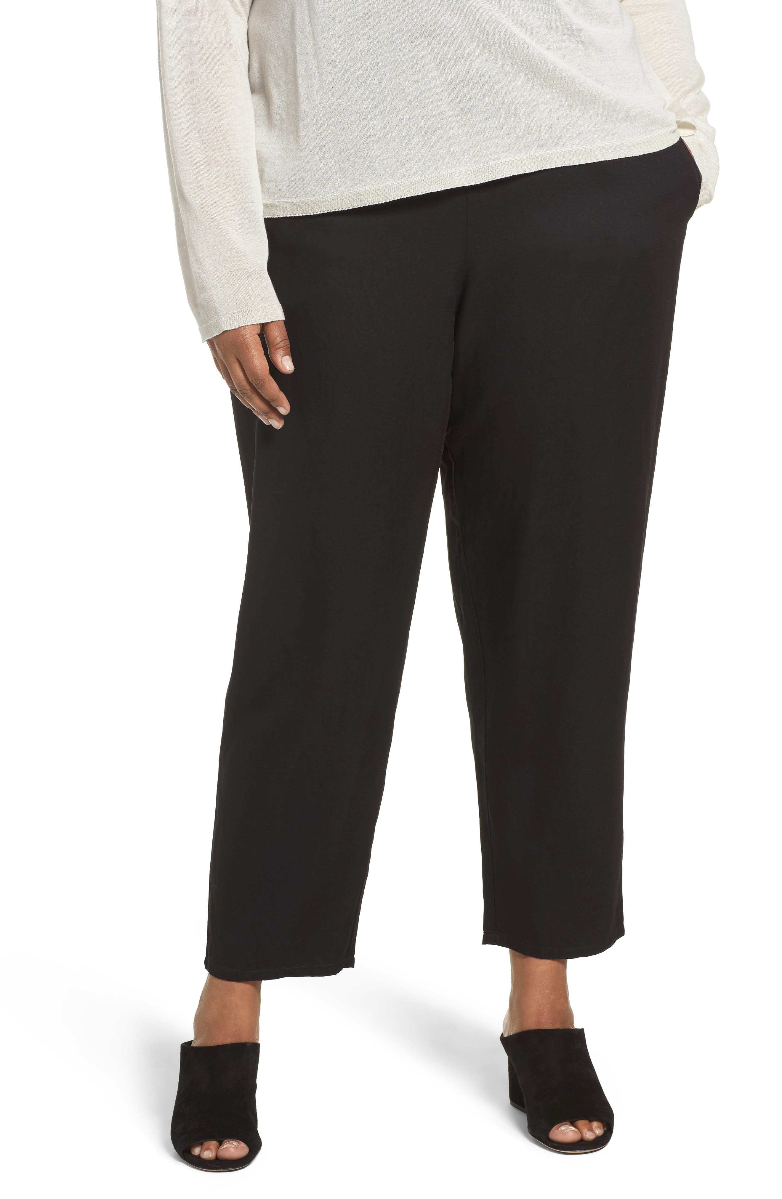 Eileen Fisher Tencel® & Linen Ankle Pants (Plus Size)