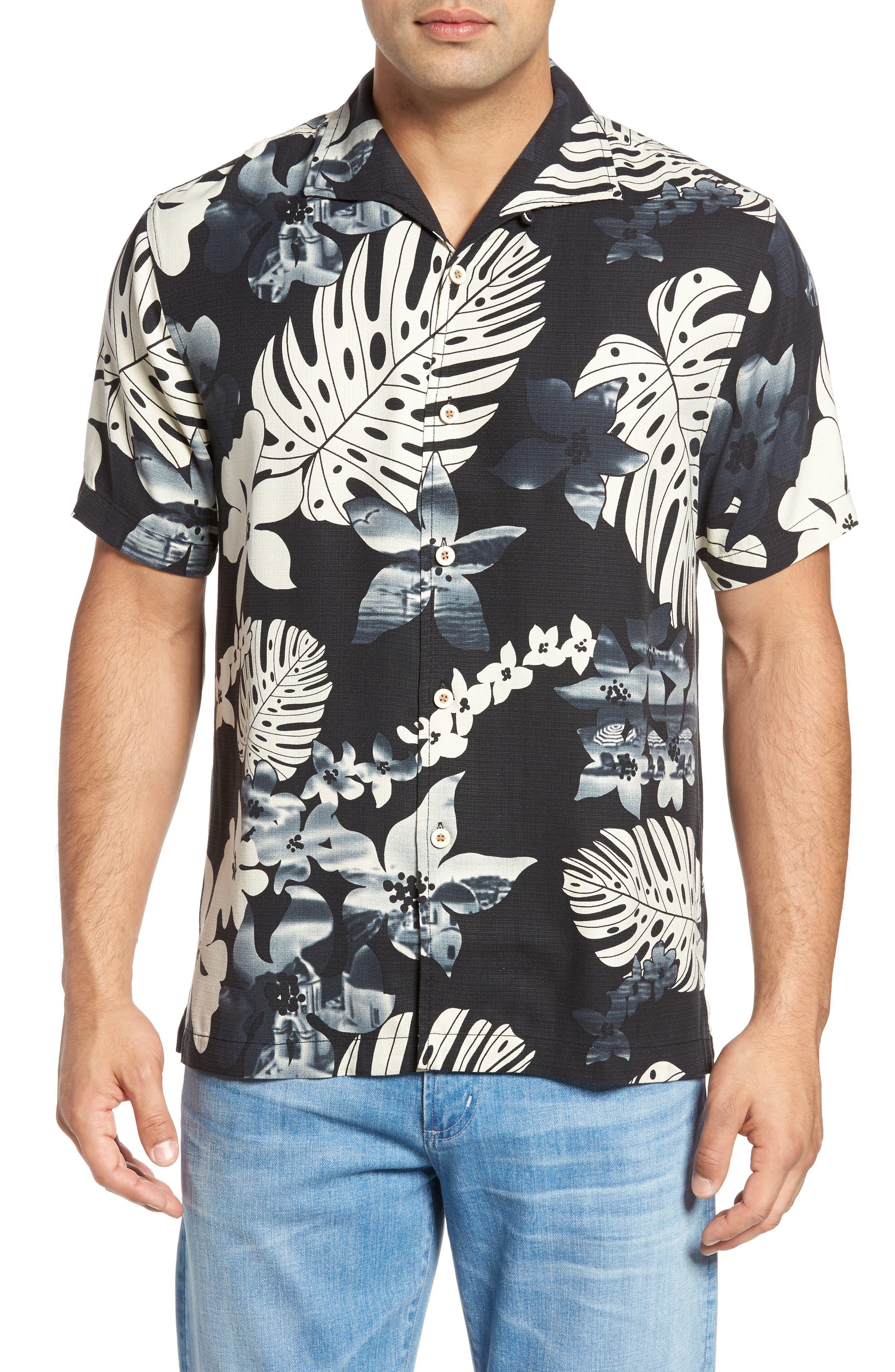 Tommy Bahama Aloha Fronds Print Silk Camp Shirt