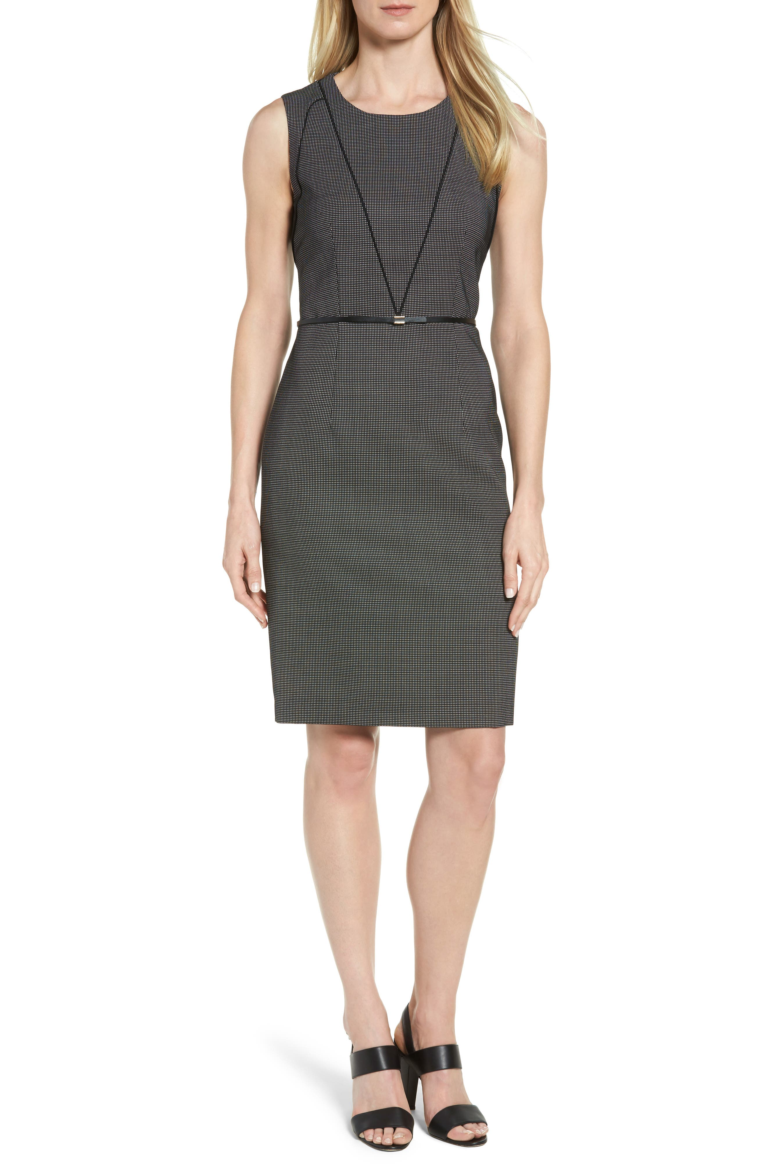 BOSS Delasana Belted Stretch Wool Sheath Dress (Regular & Petite)