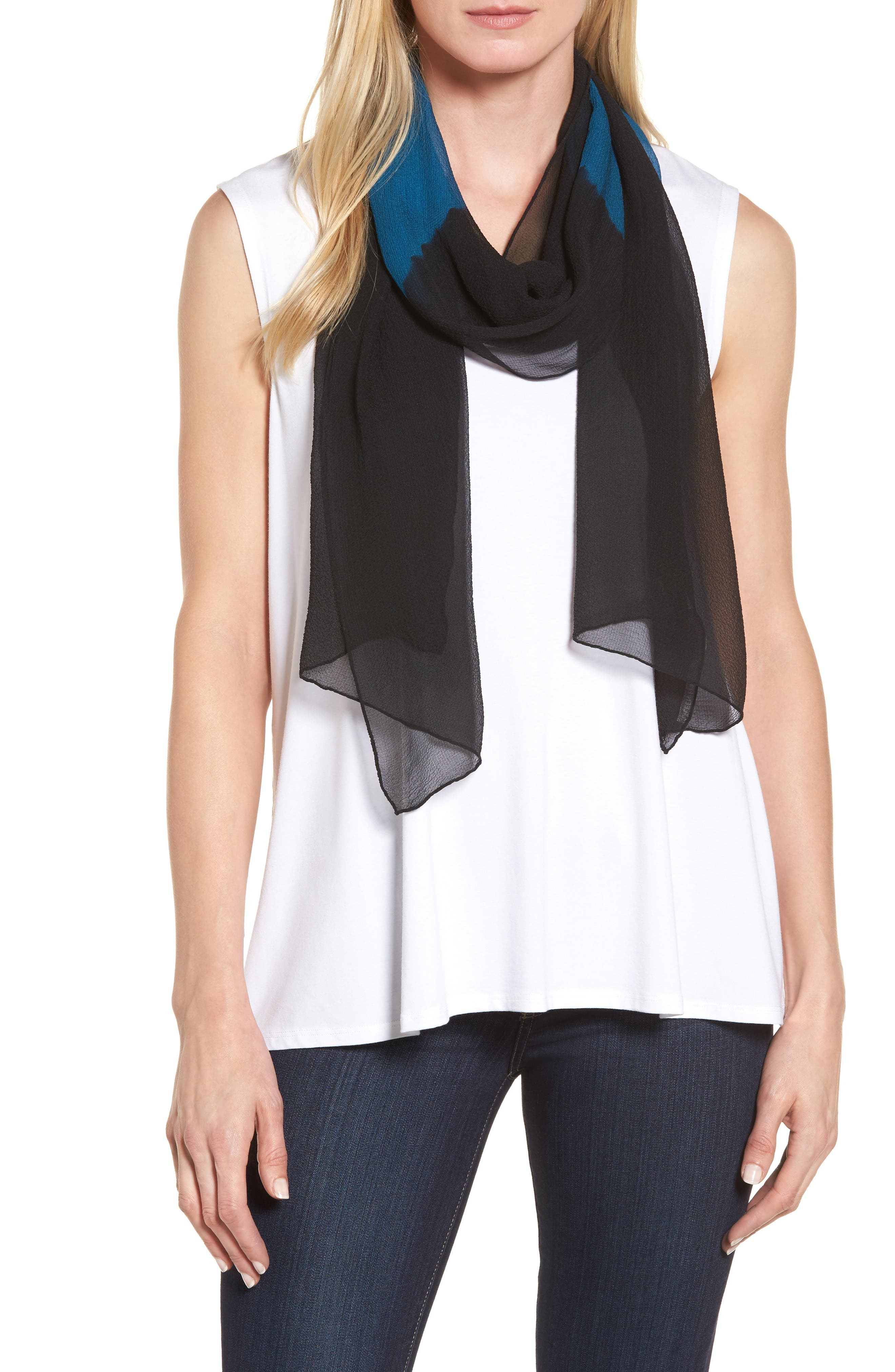 Eileen Fisher Colorblock Silk Scarf