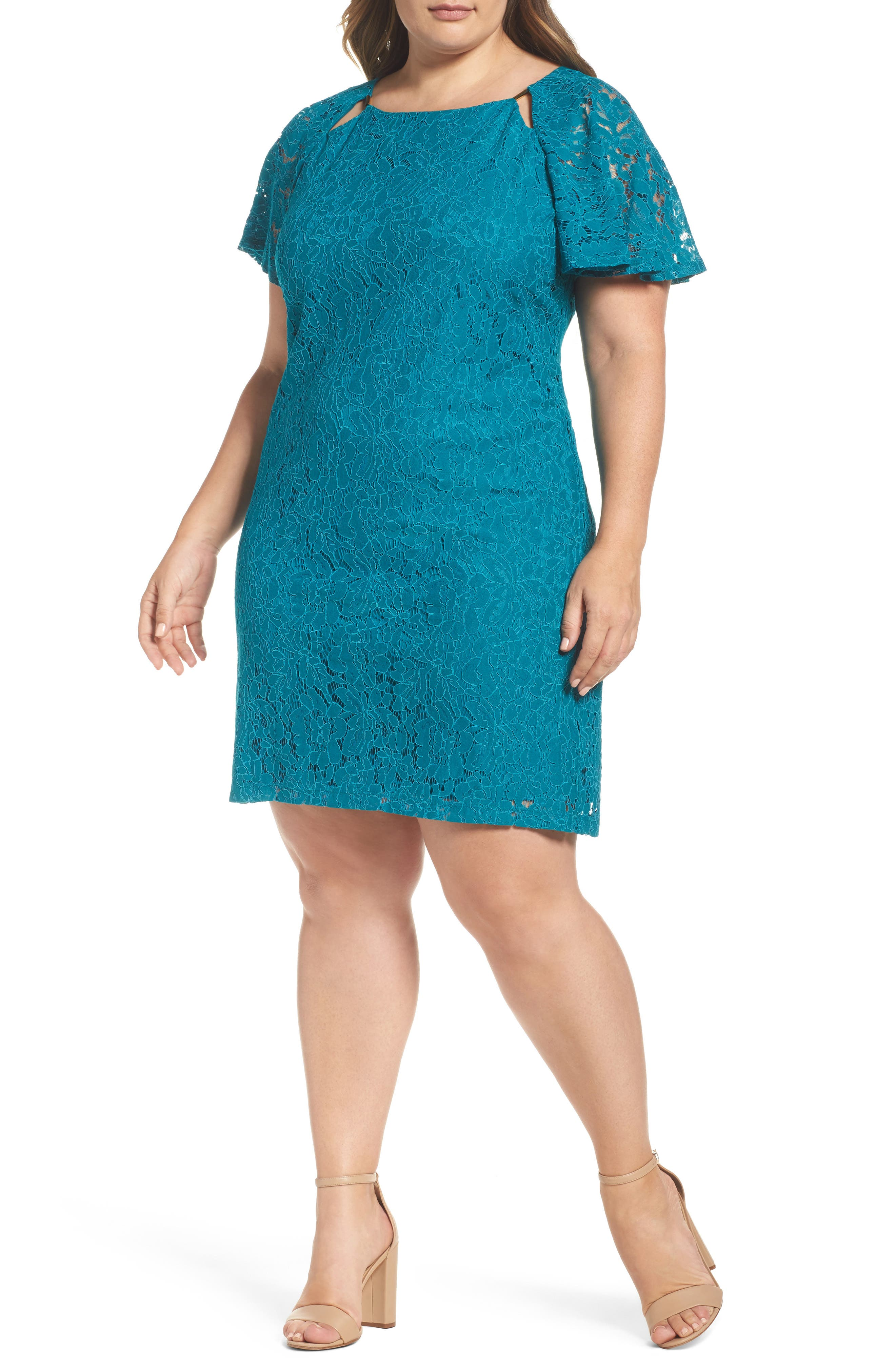Gabby Skye Flutter Sleeve Lace Sheath Dress (Plus Size)
