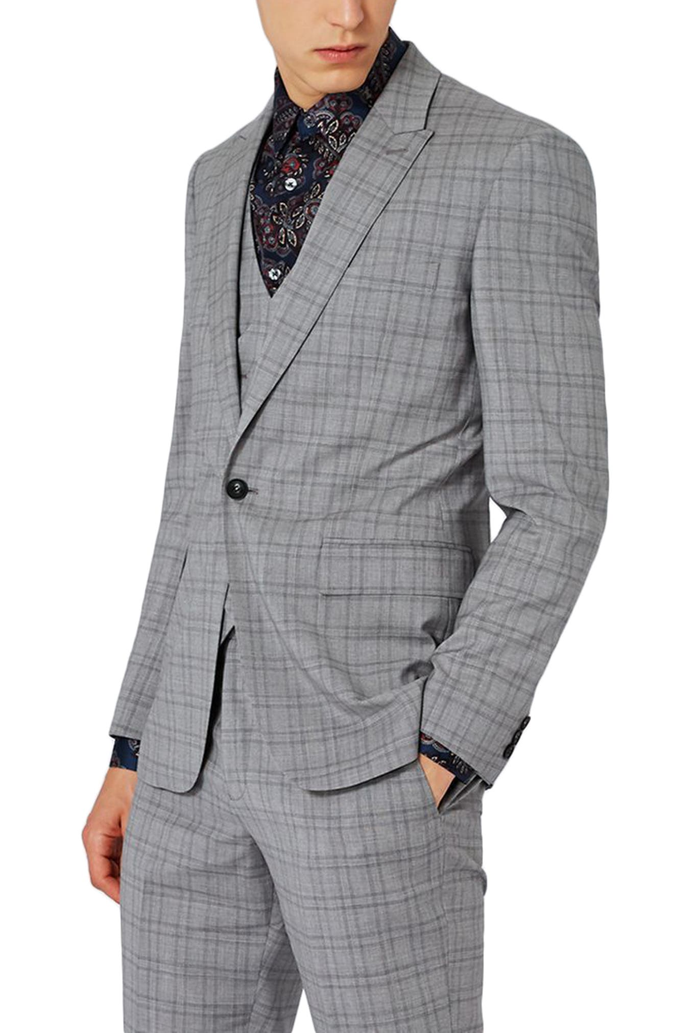 Charlie Casely-Hayford x Topman Skinny Fit Check Suit Jacket