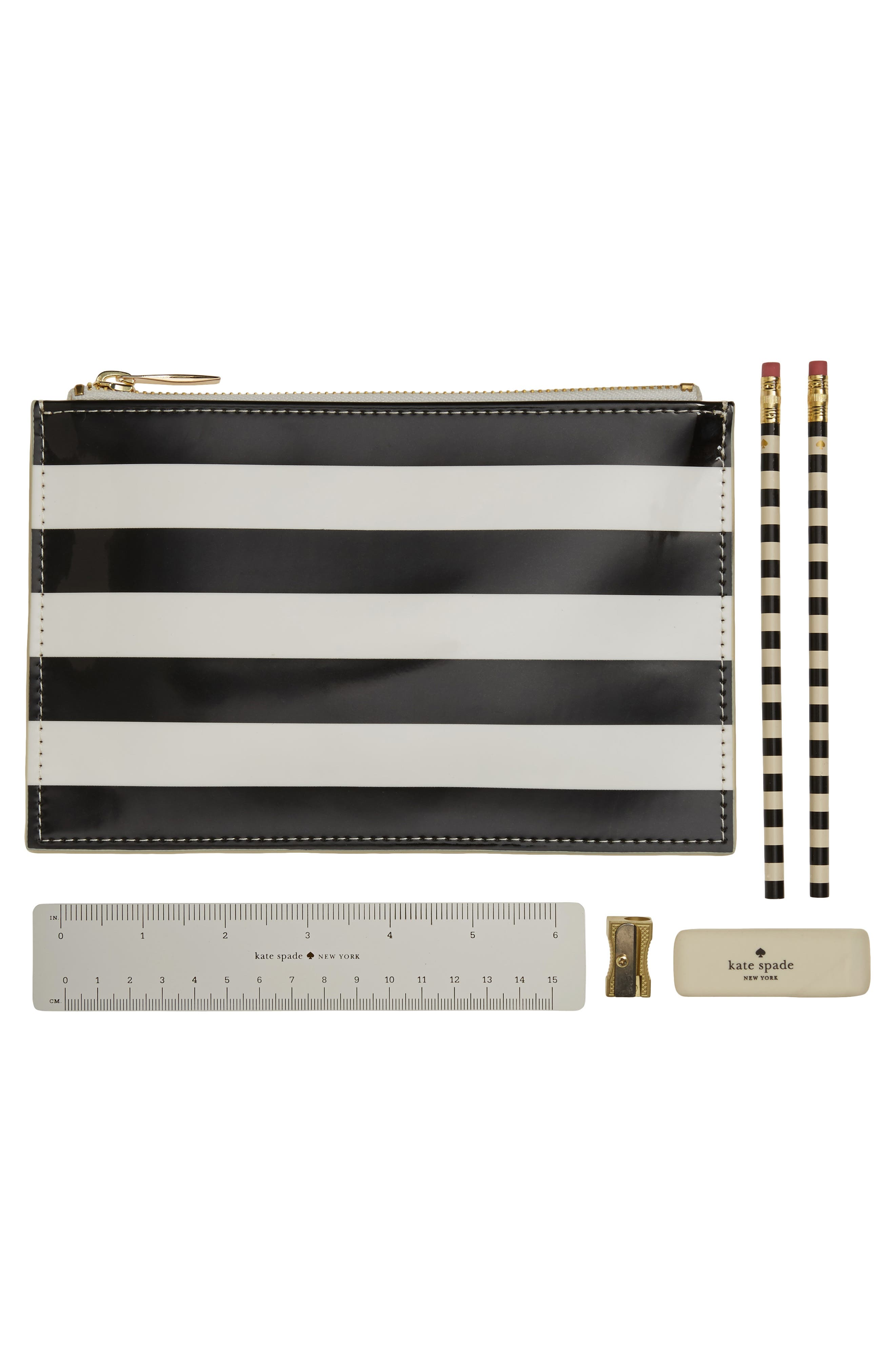 kate spade new york stripe pencil pouch set