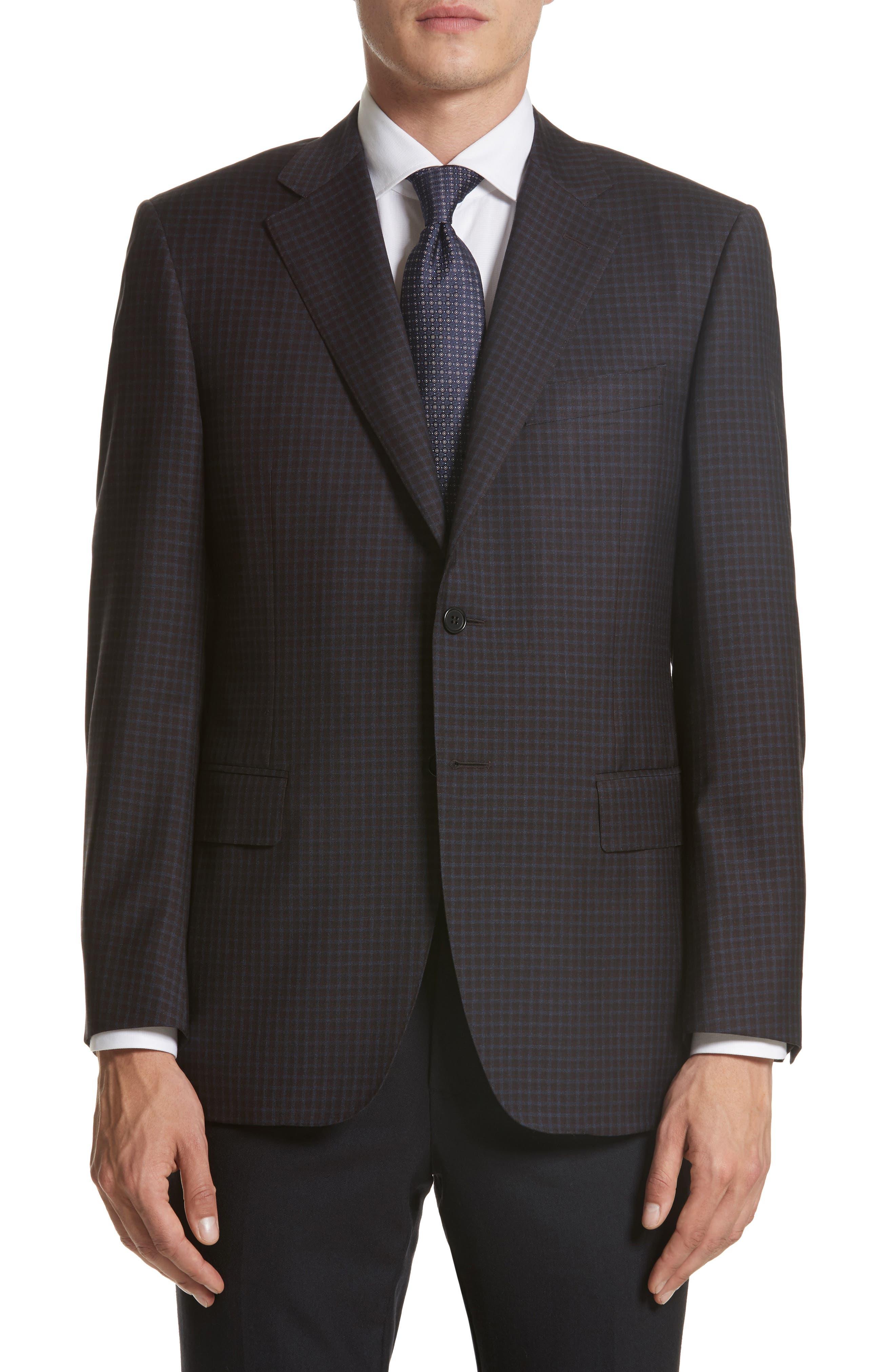 Canali Classic Fit Check Wool Sport Coat (Regular & Big)