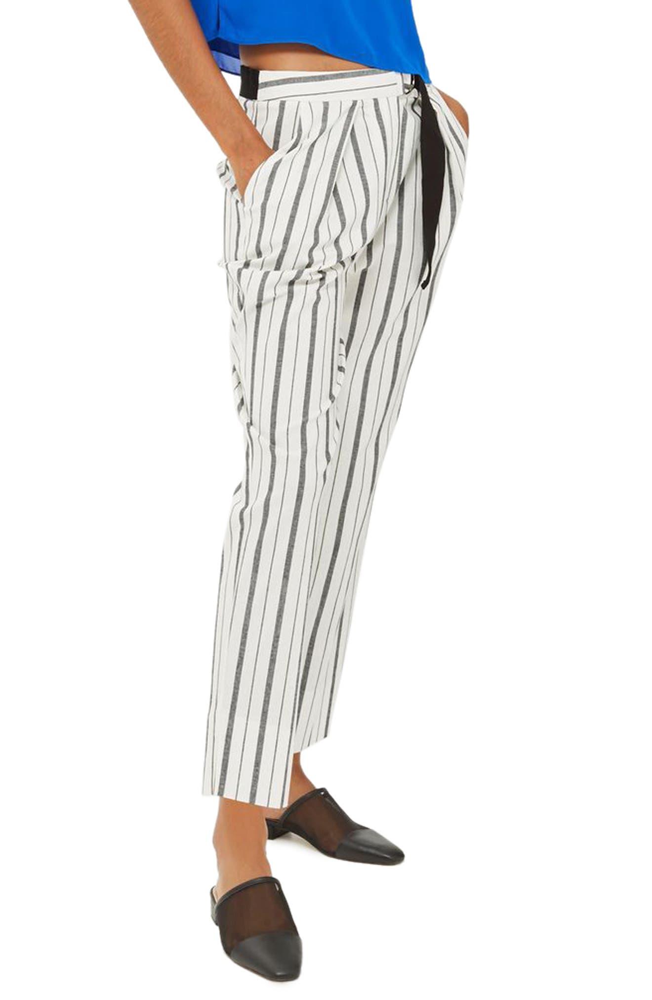 Topshop Stripe Peg Leg Trousers (Petite)