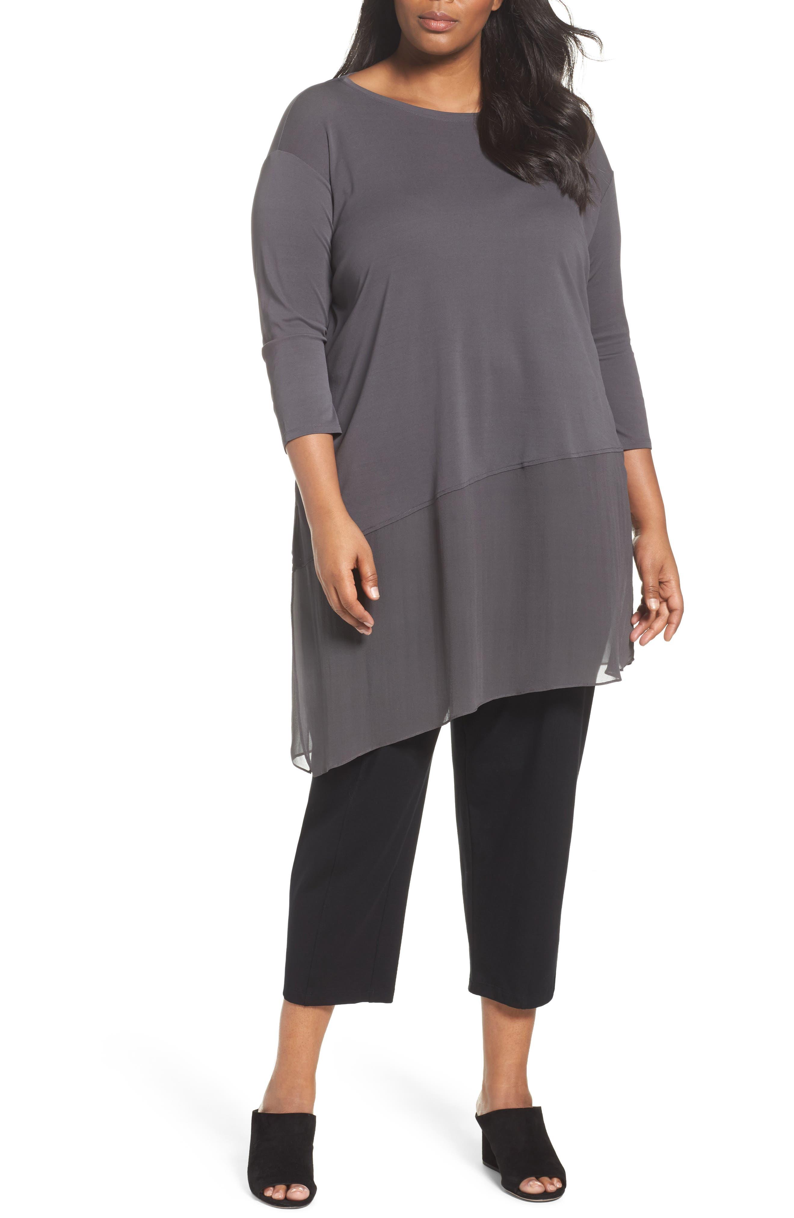 Eileen Fisher Asymmetrlcal Chiffon Hem Tunic (Plus Size)