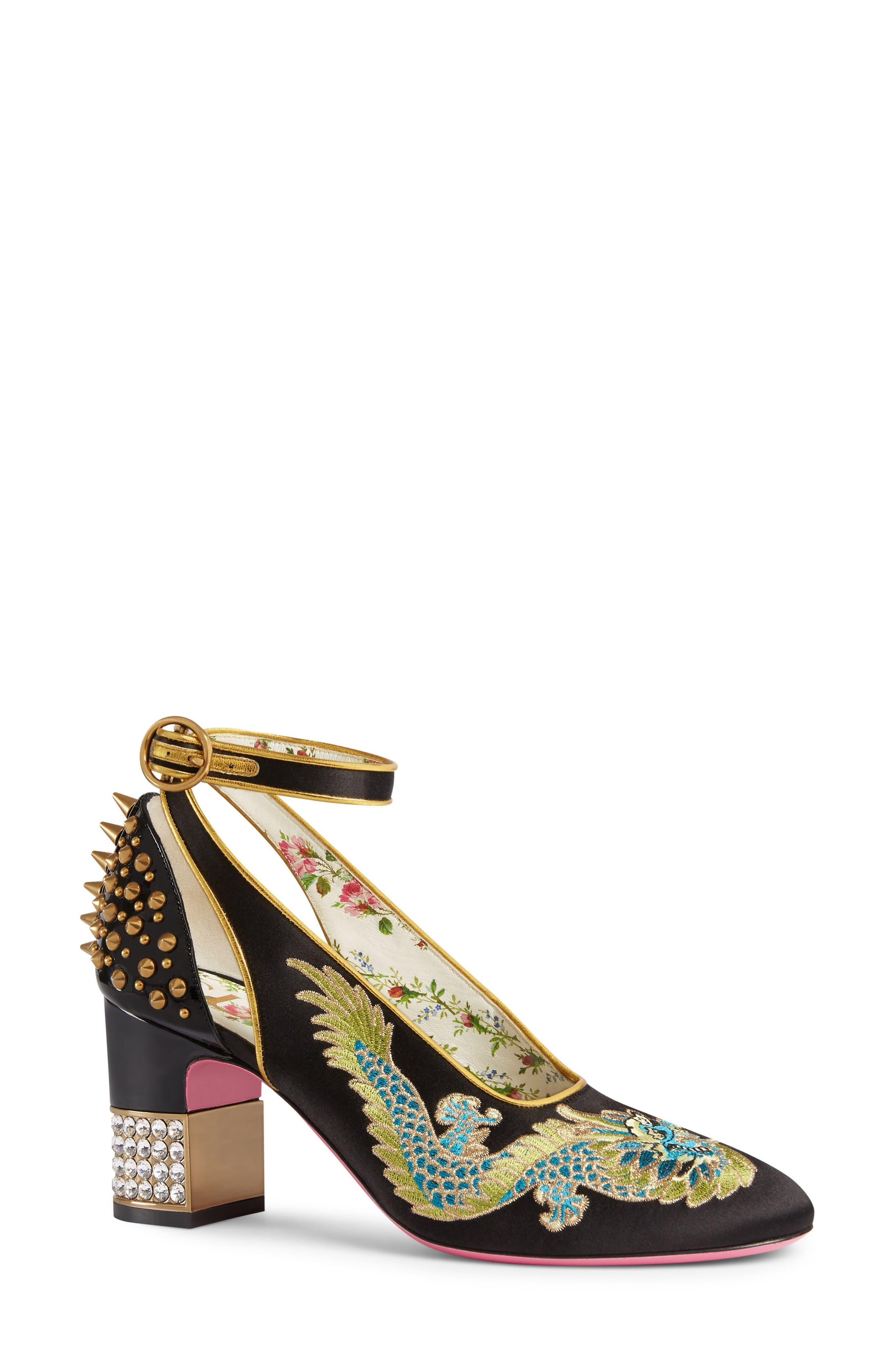 Gucci Caspar Embroidered Ankle Strap Pump (Women)