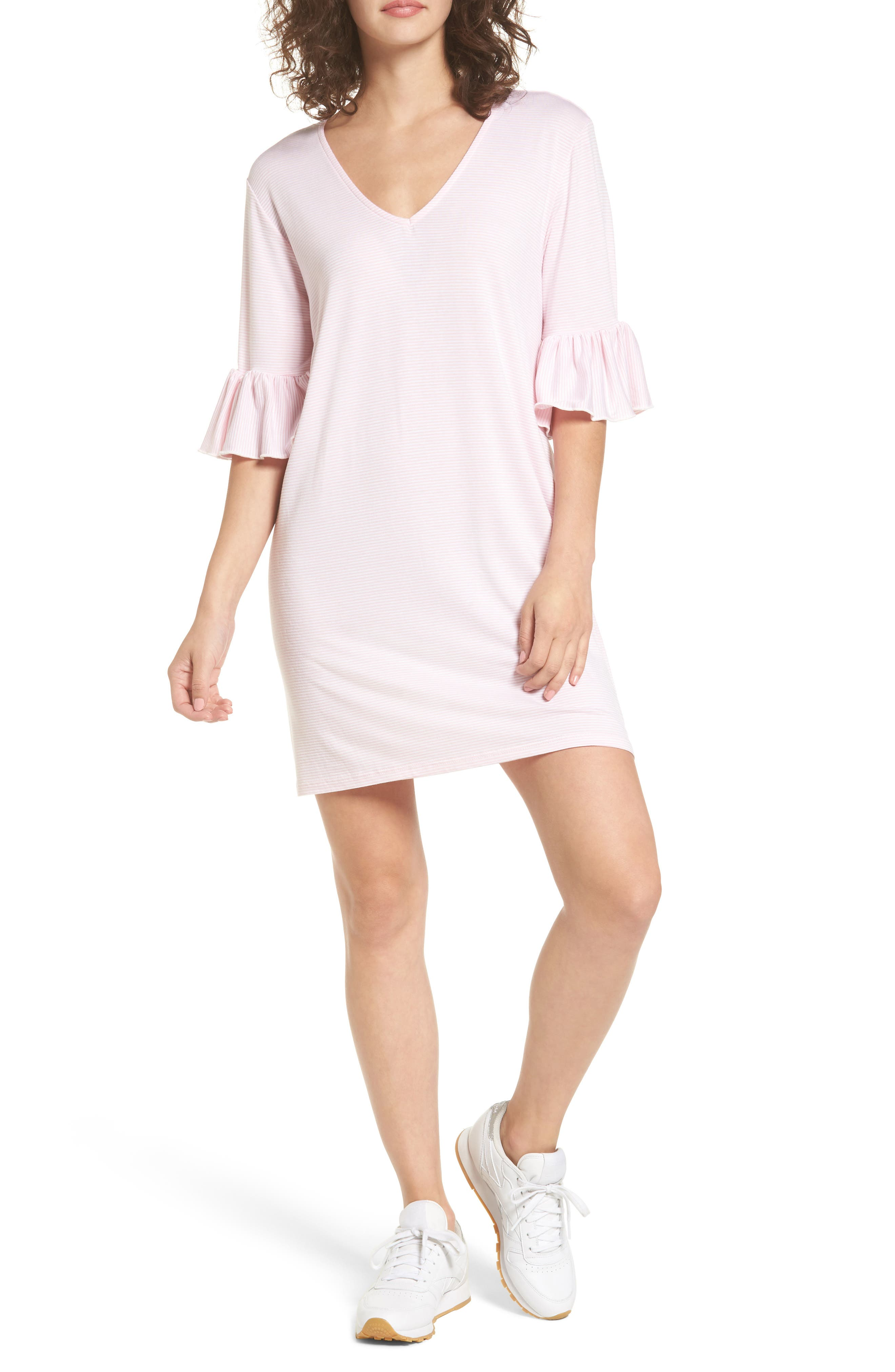 Cotton Emporium Flare Sleeve Stripe Dress