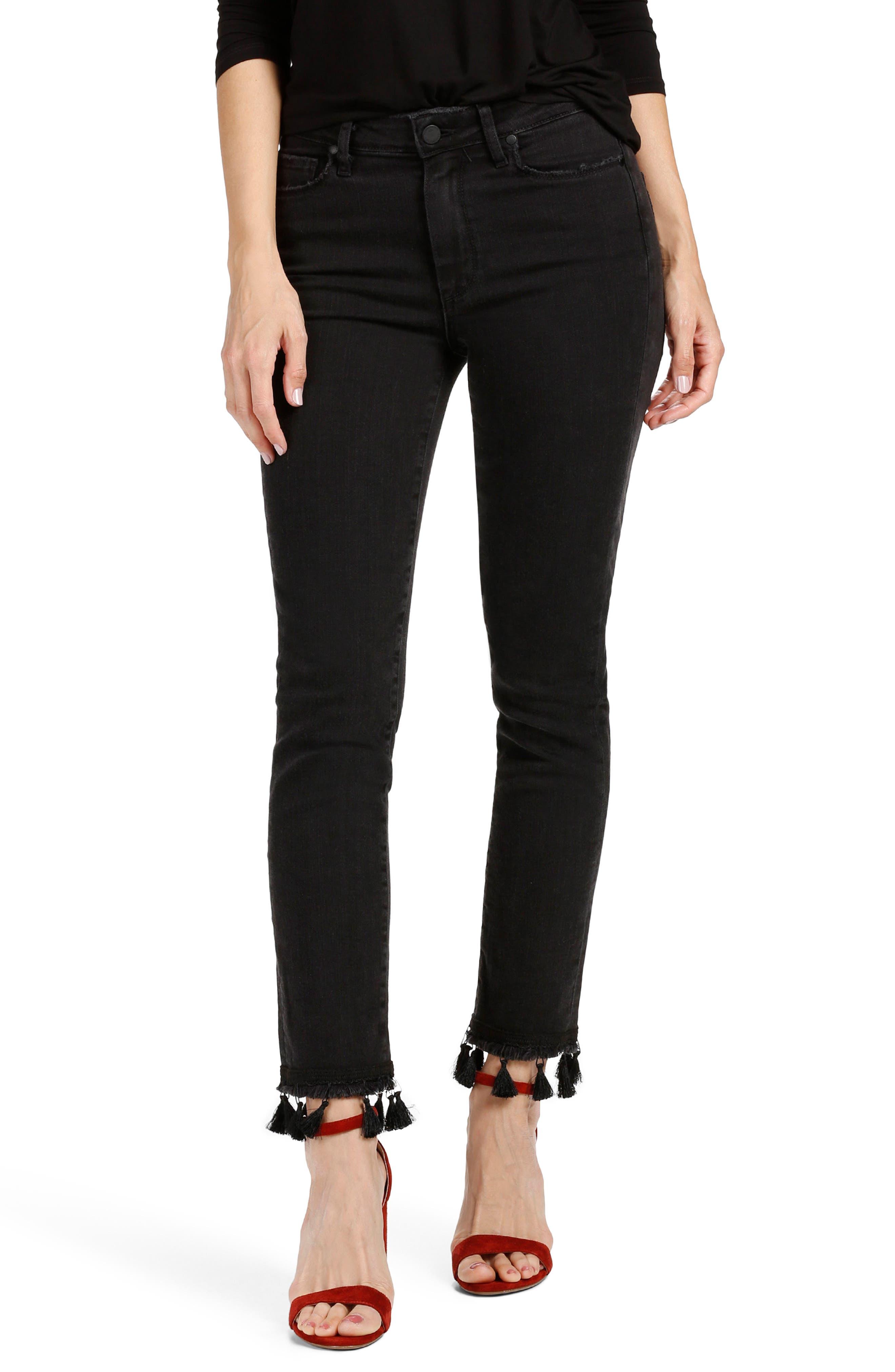 PAIGE Jacqueline High Waist Ankle Straight Leg Jeans (Noir Tassel)