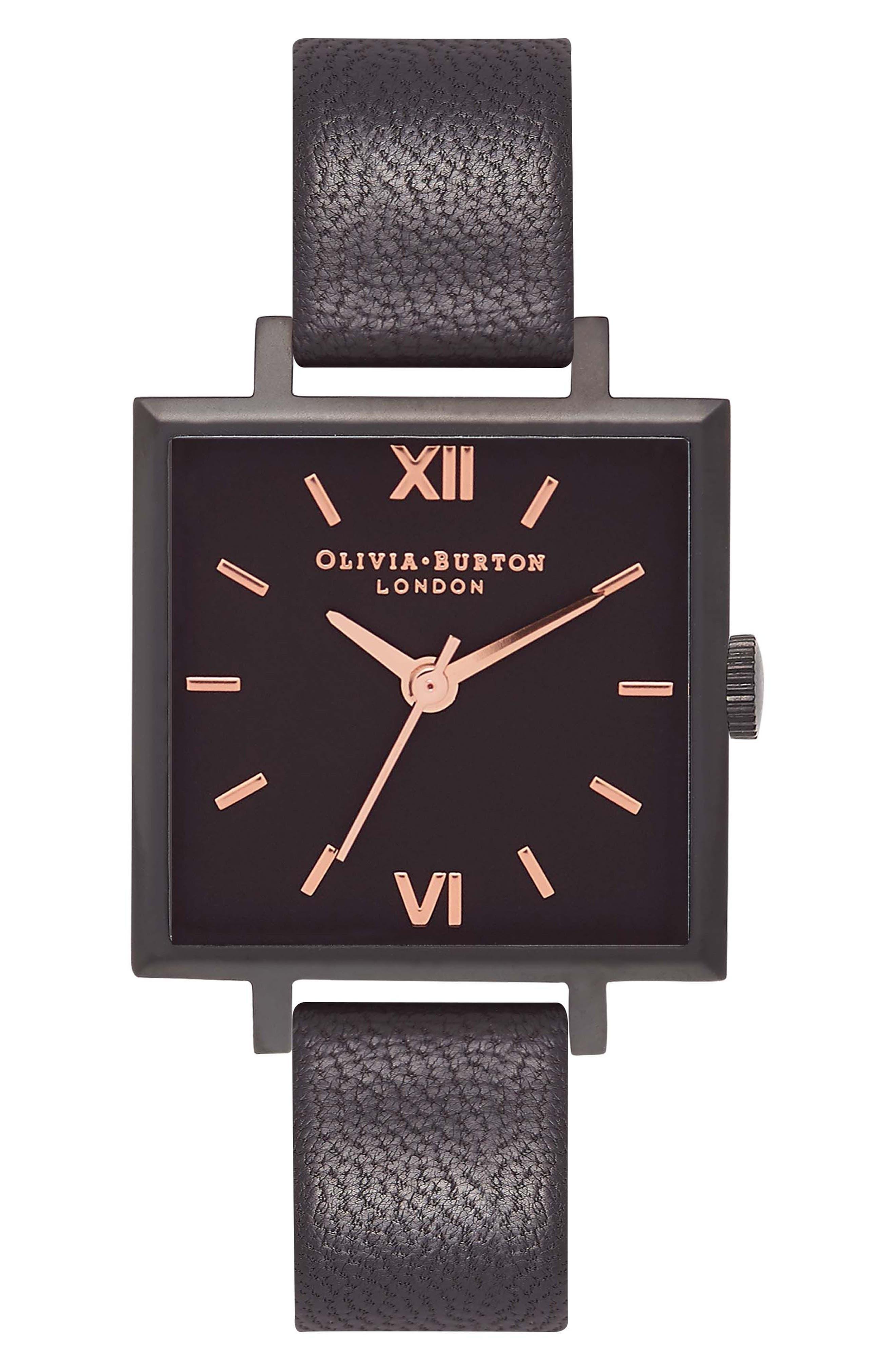 Olivia Burton Square Leather Strap Watch, 23mm
