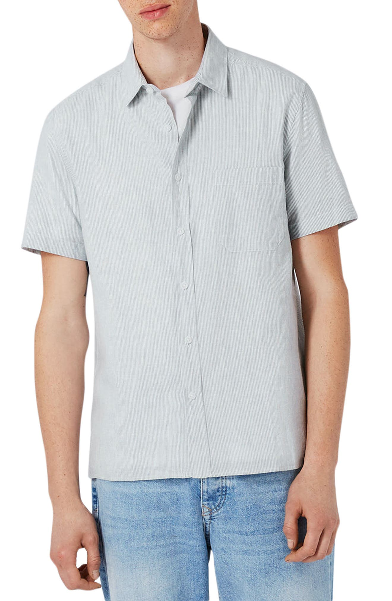 Topman Classic Fit Stripe Cotton & Linen Shirt