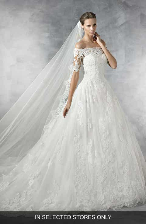 pronovias pleasant off the shoulder tulle lace ballgown in selected stores only