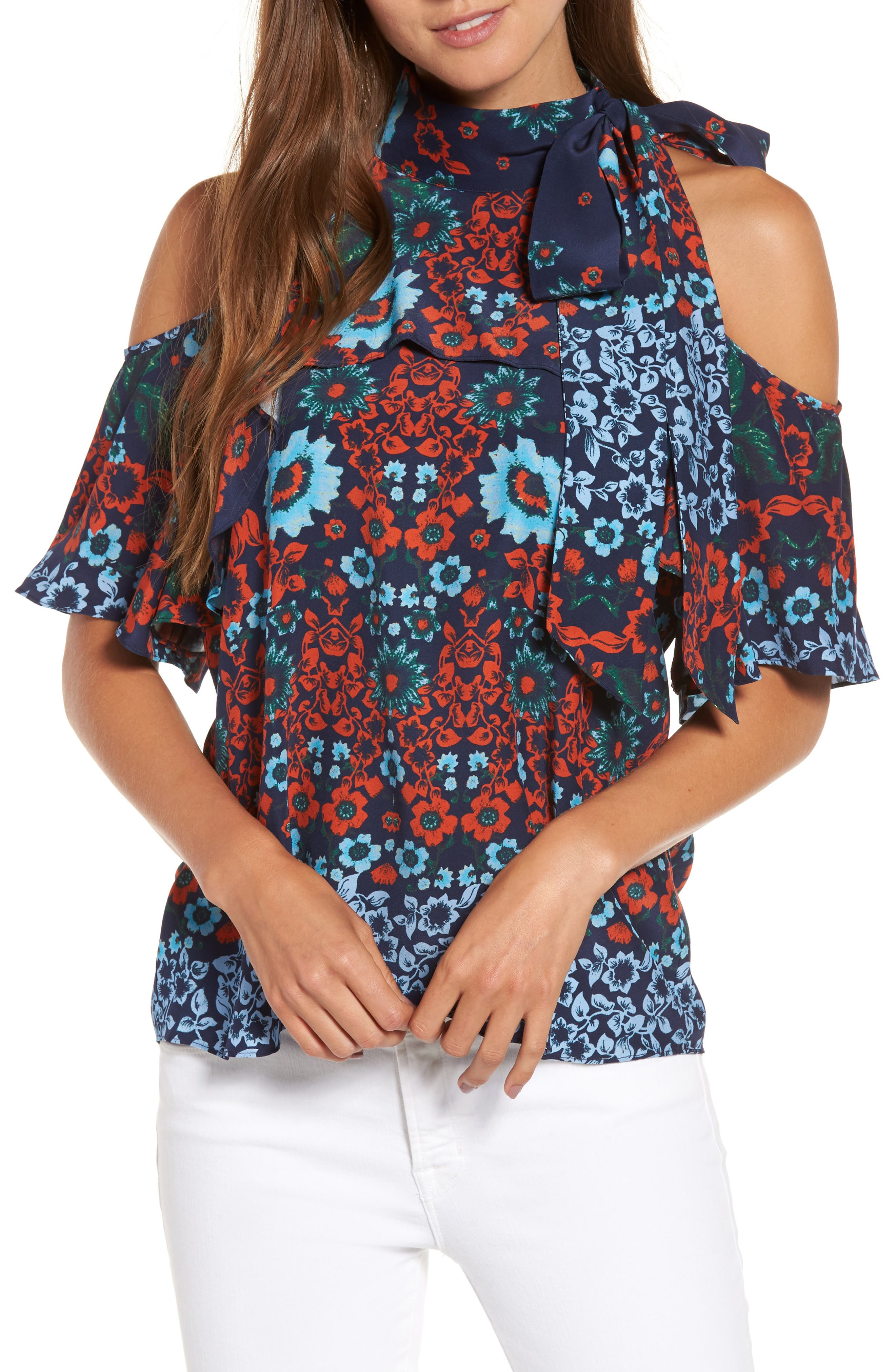 Parker Empire Cold Shoulder Silk Top