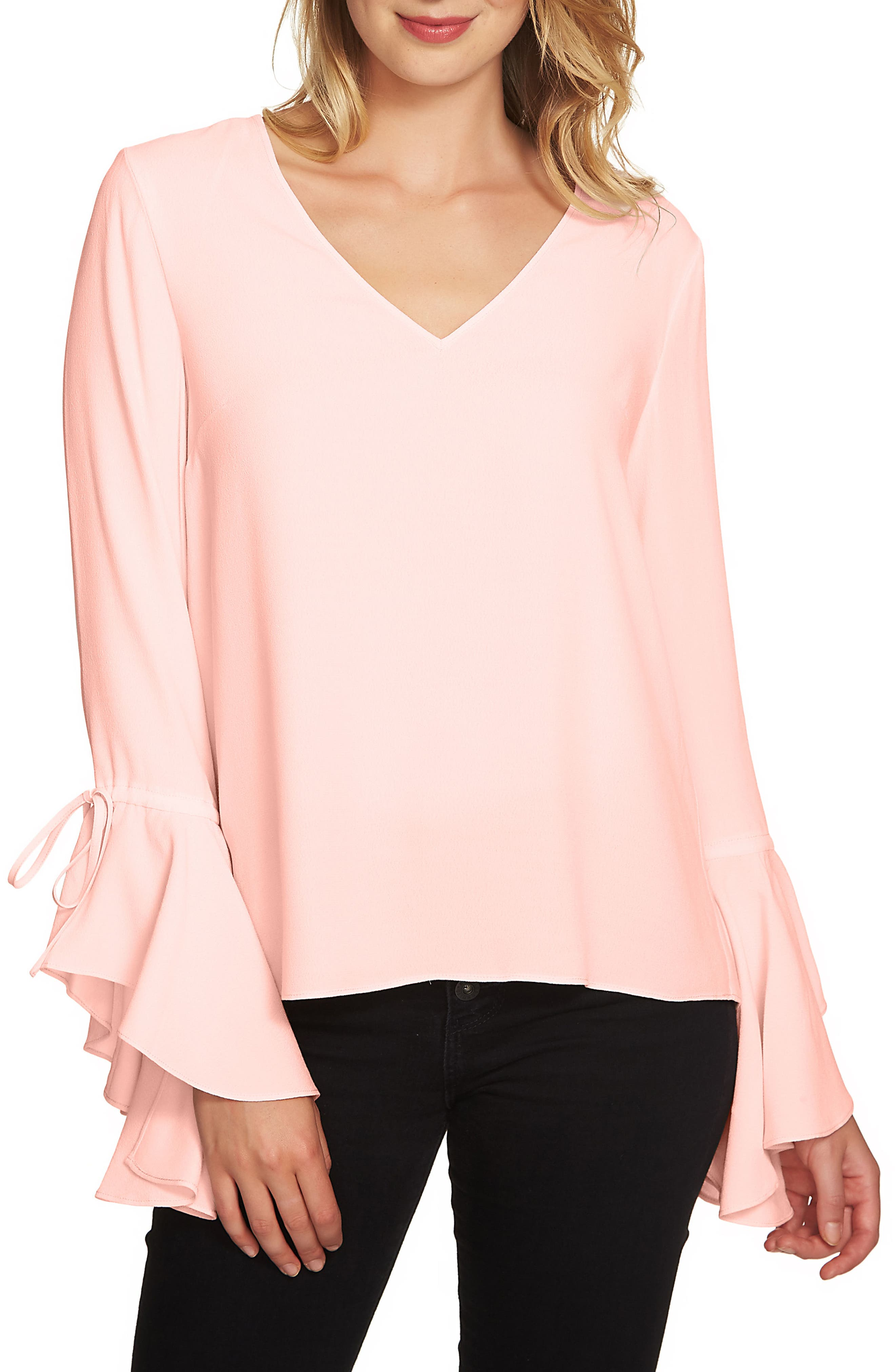 1.STATE Cascade Sleeve Blouse