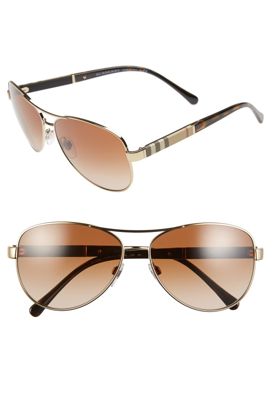 Burberry 59mm Aviator Sunglasses