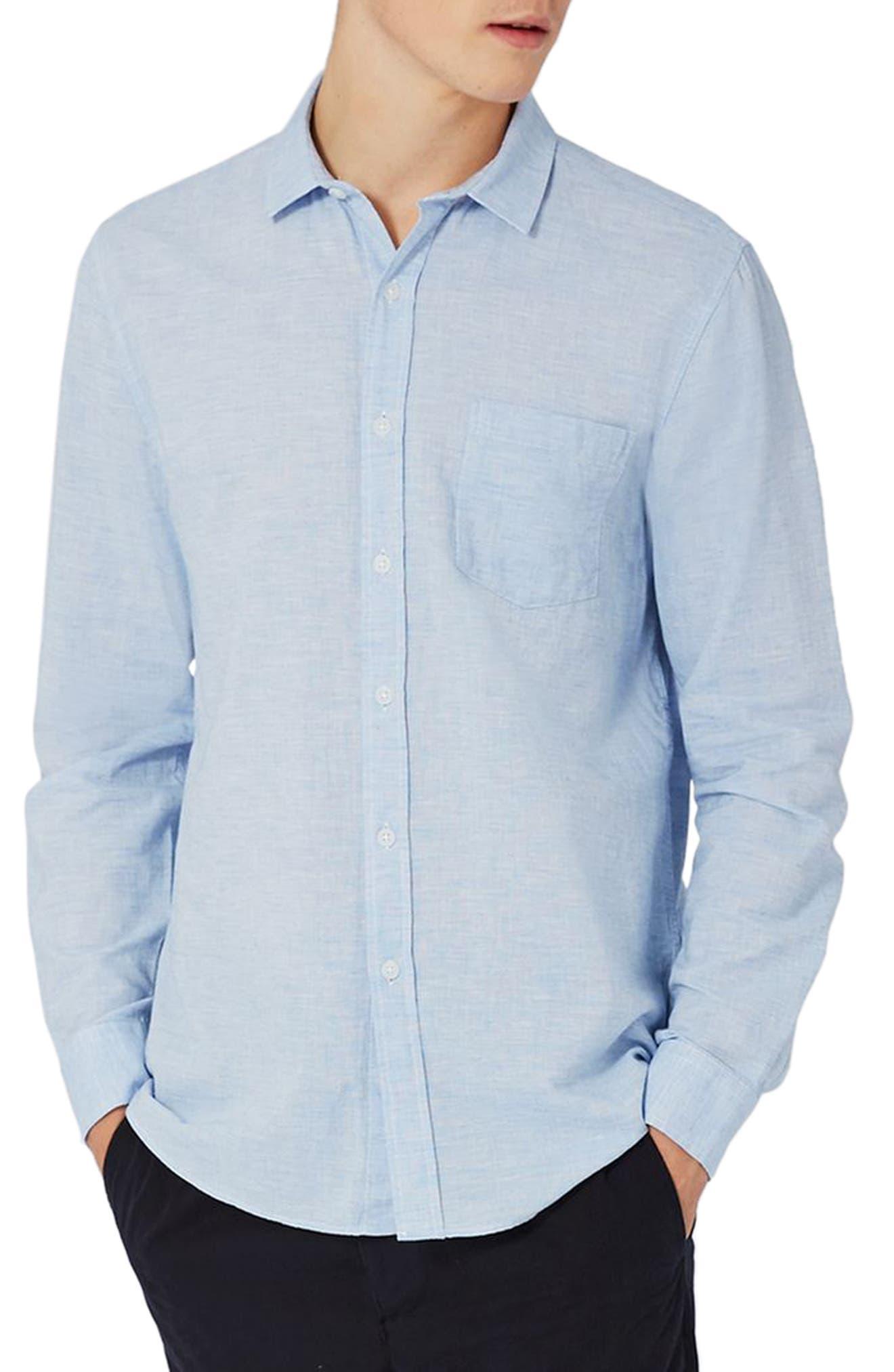 Topman Classic Fit Slub Woven Cotton & Linen Shirt