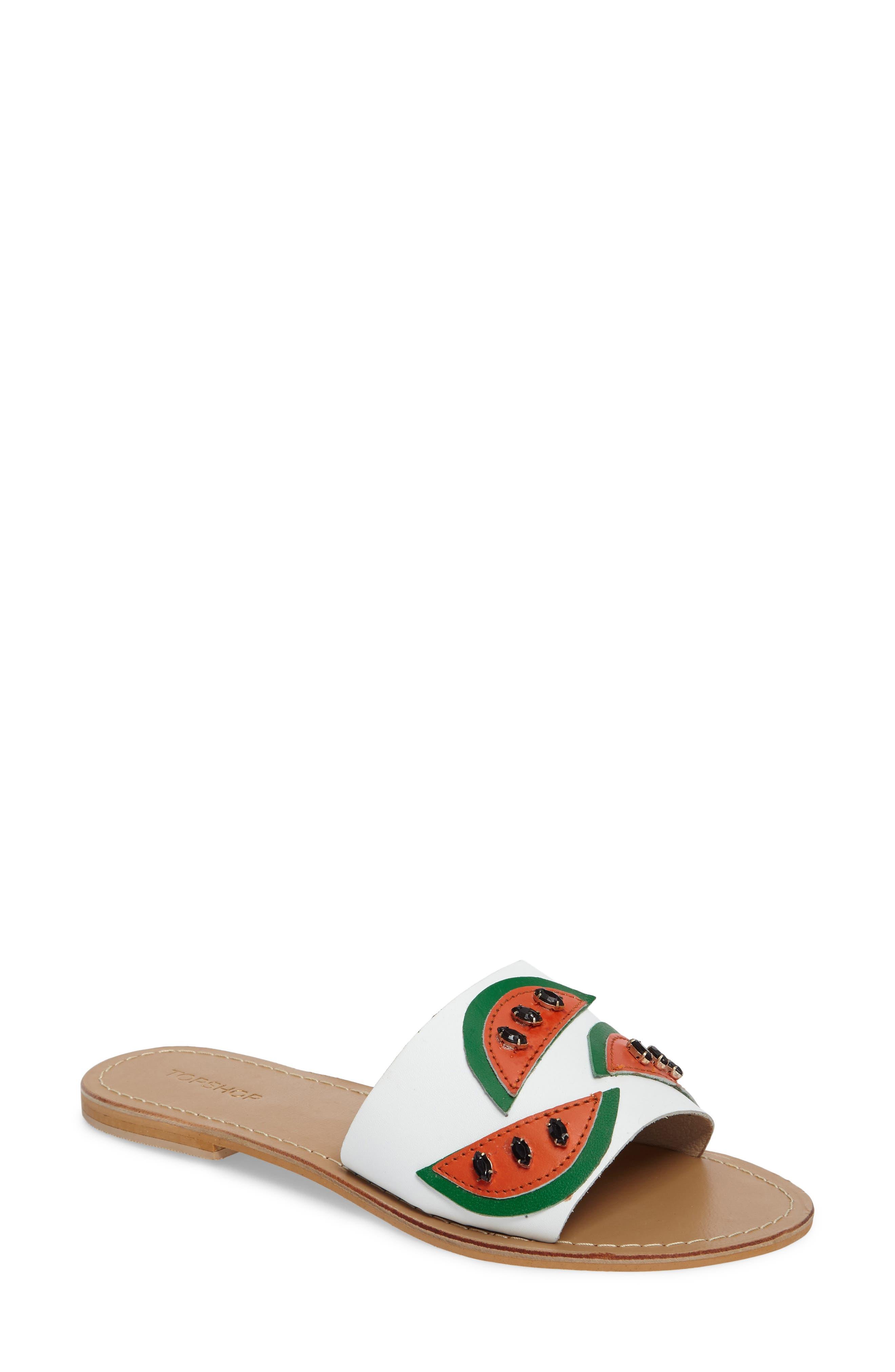 Main Image - Topshop Happy Fruity Slide Sandal (Women)