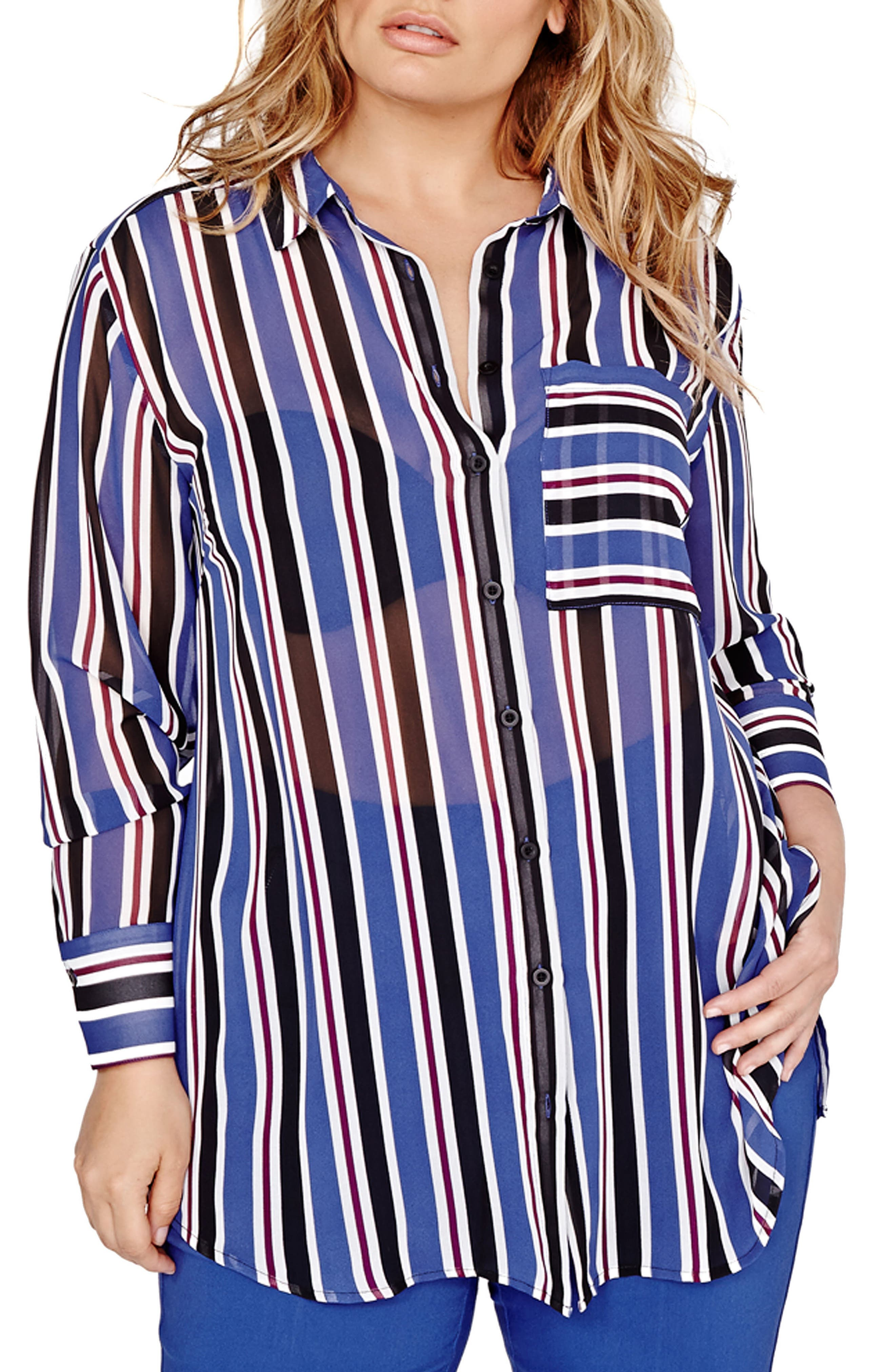 MICHEL STUDIO Stripe Tunic Shirt (Plus Size)