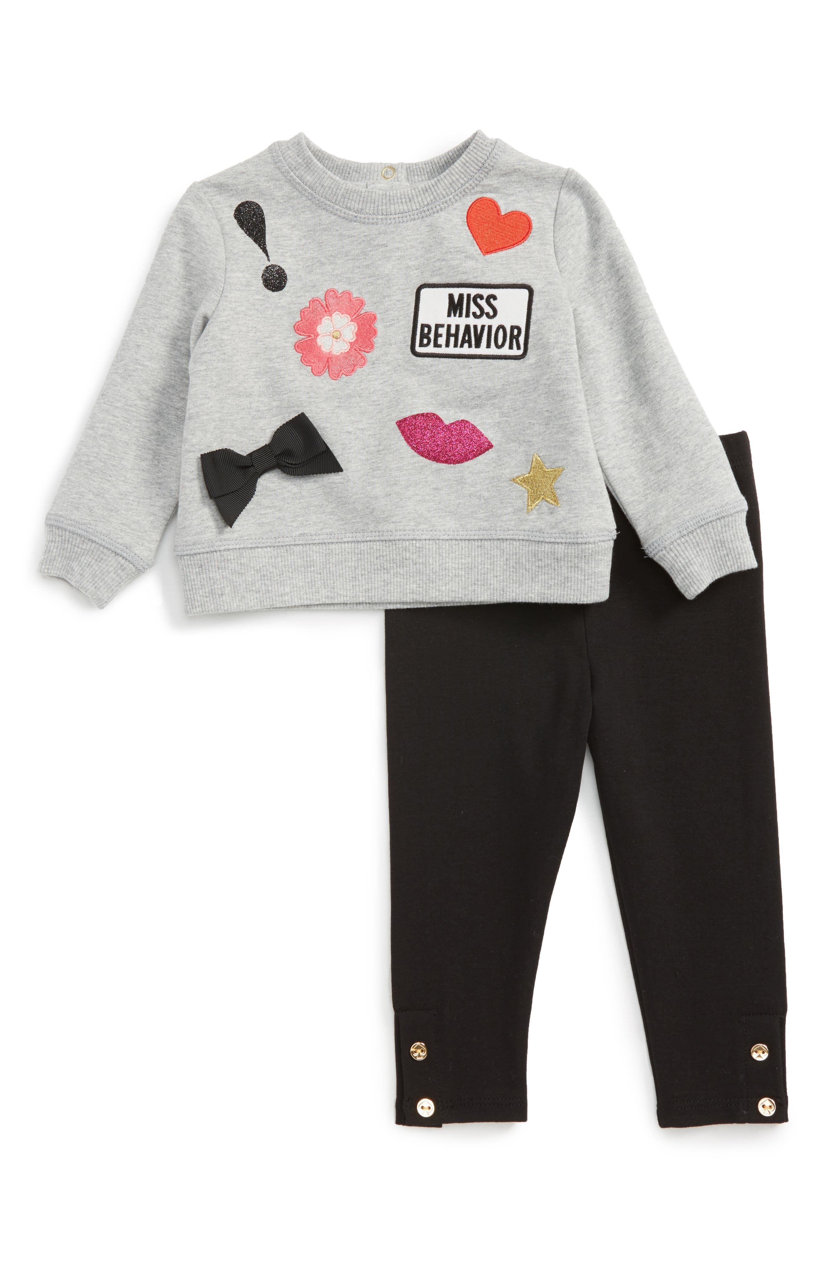 kate spade new york patched sweatshirt & leggings set (Baby Girls)