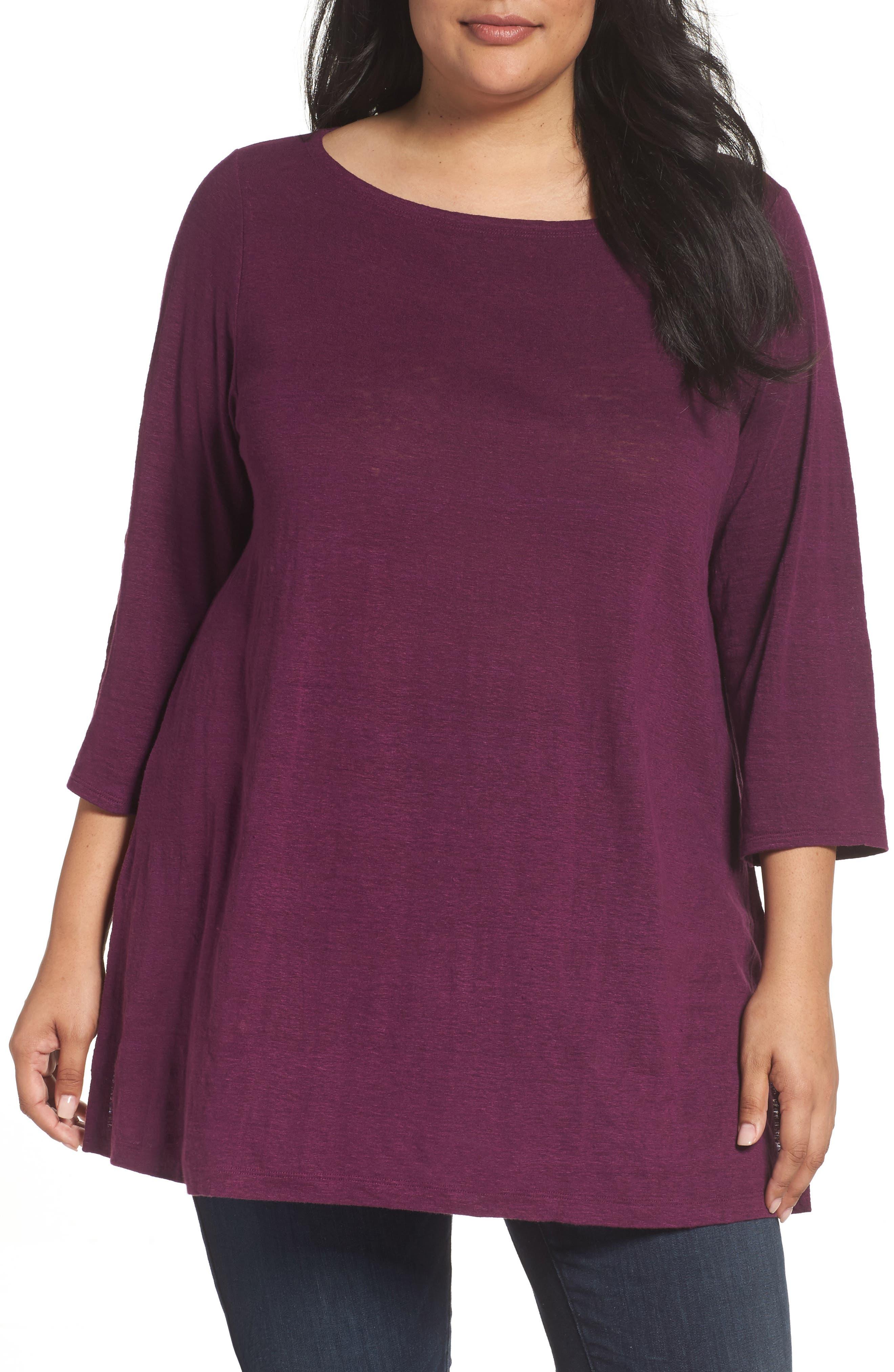 Eileen Fisher Organic Linen Jersey Bateau Neck Tunic (Plus Size)