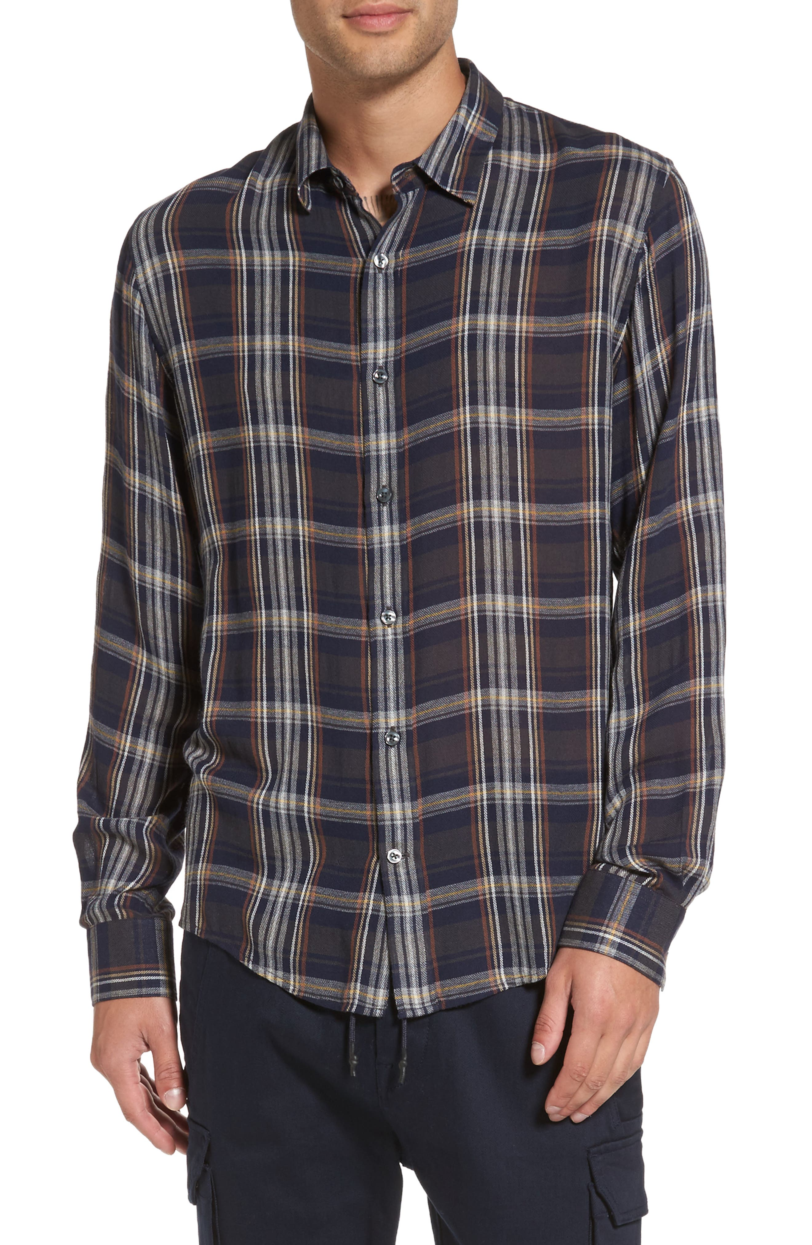 Vince Regular Fit Classic Plaid Sport Shirt