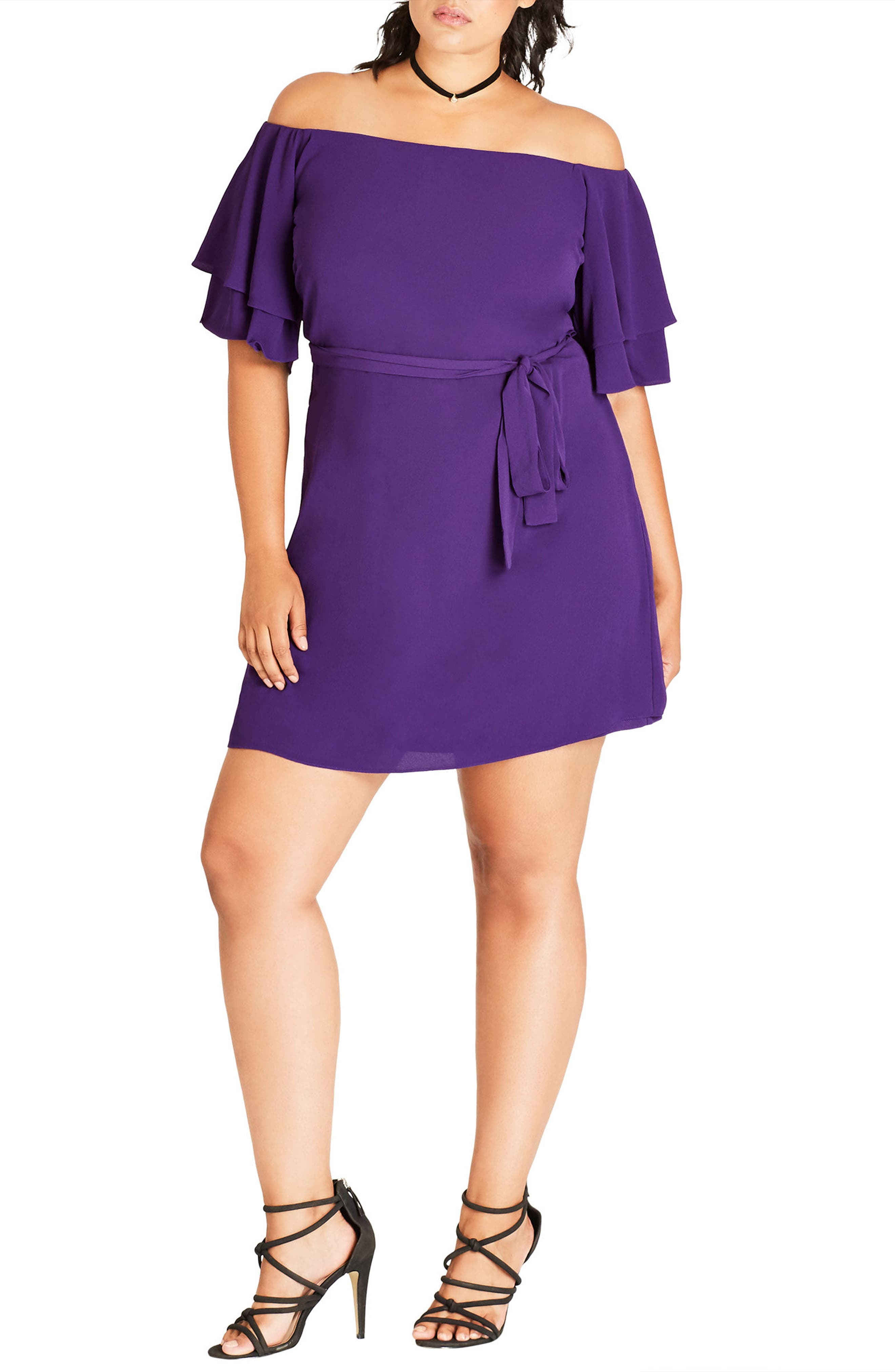 City Chic Julliet Off the Shoulder Shift Dress (Plus Size)