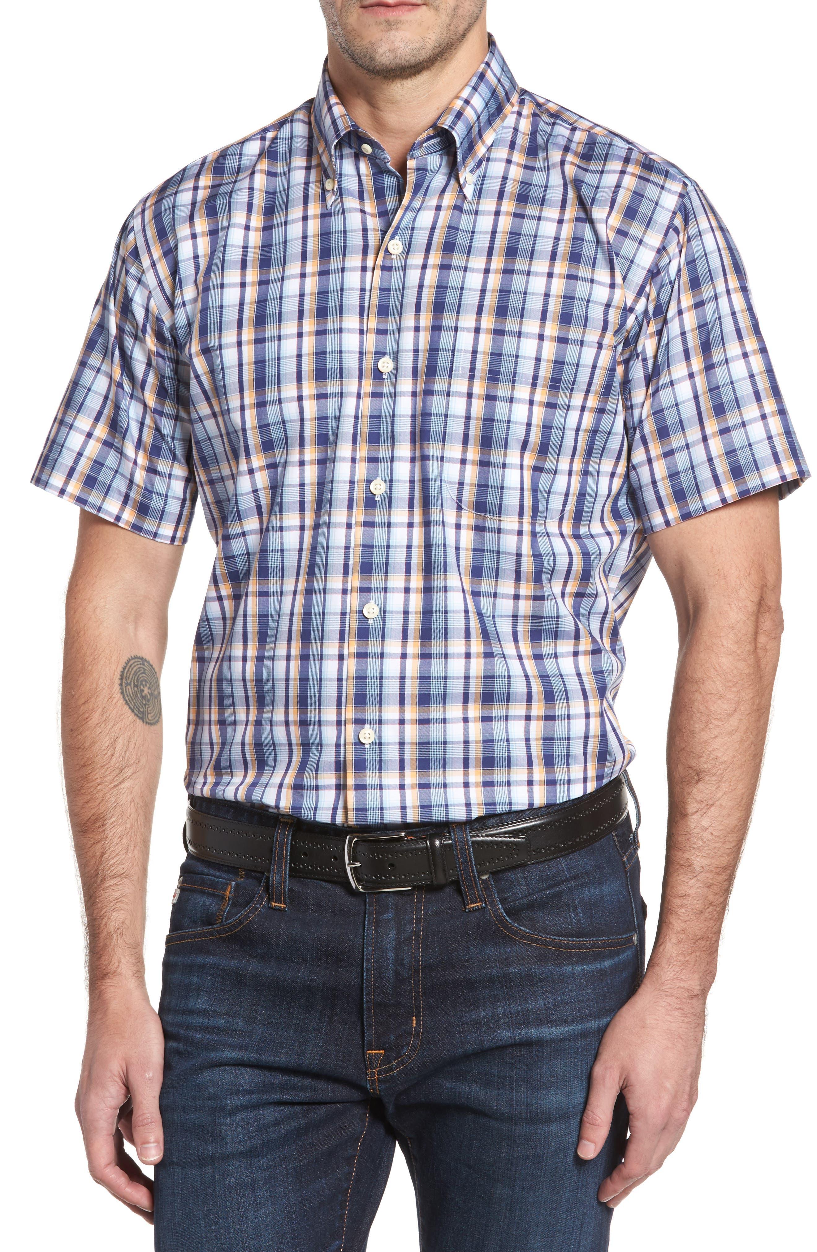 Peter Millar Shoreline Plaid Short Sleeve Sport Shirt